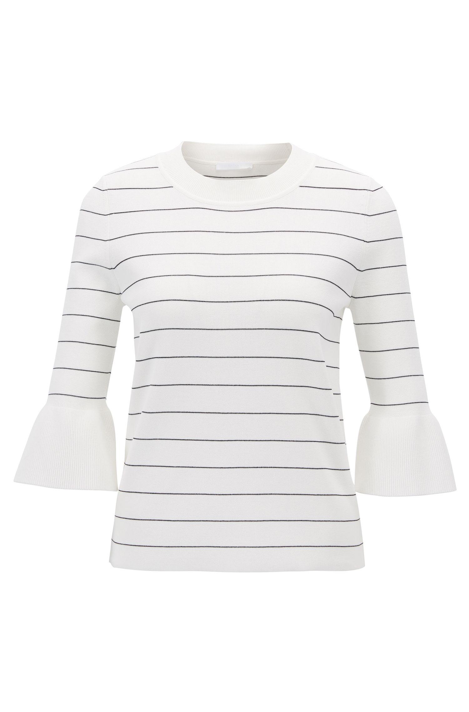 Cotton Tulip-Sleeve Sweater | Fanella