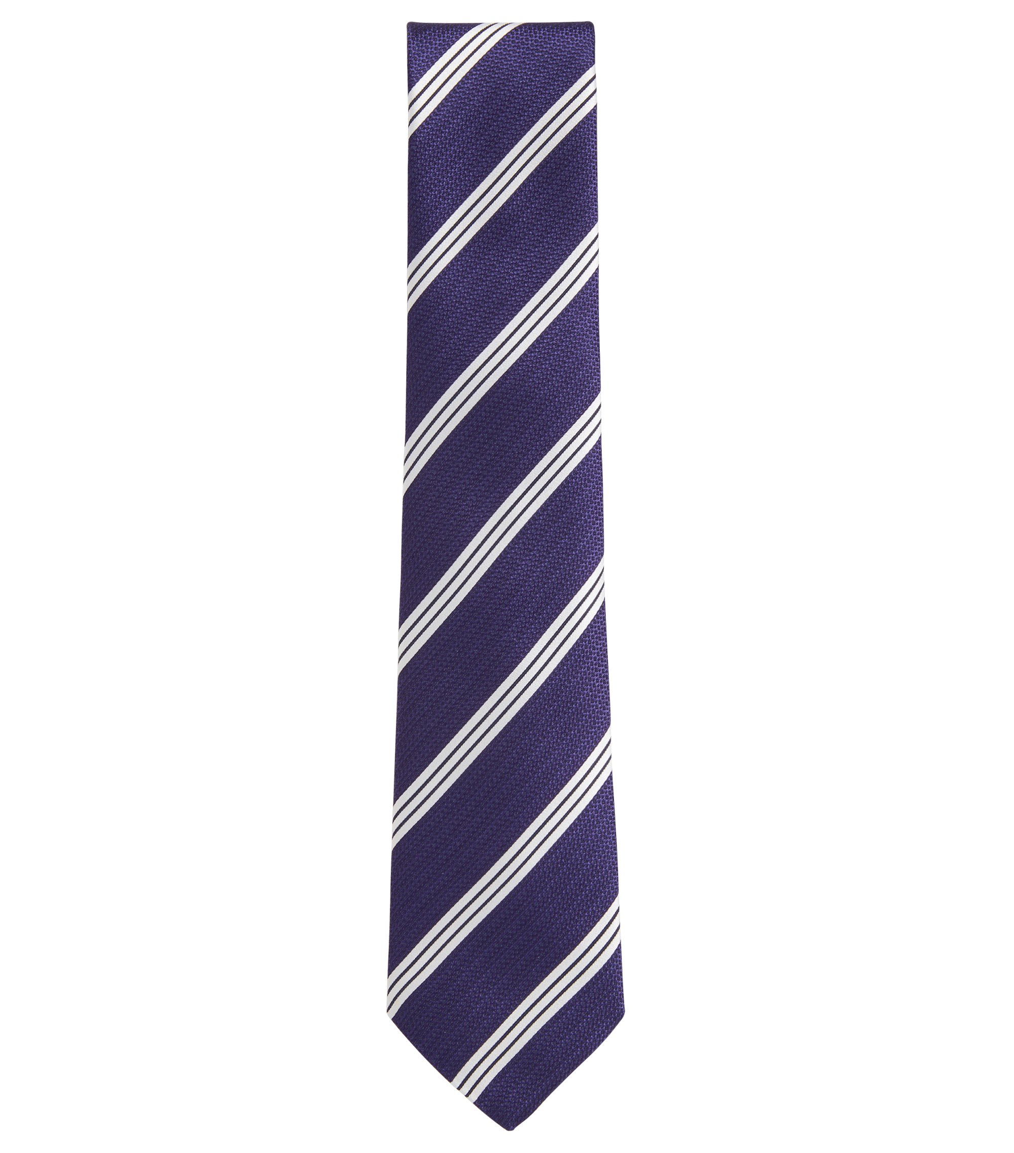 Striped Italian Silk Tie, Purple