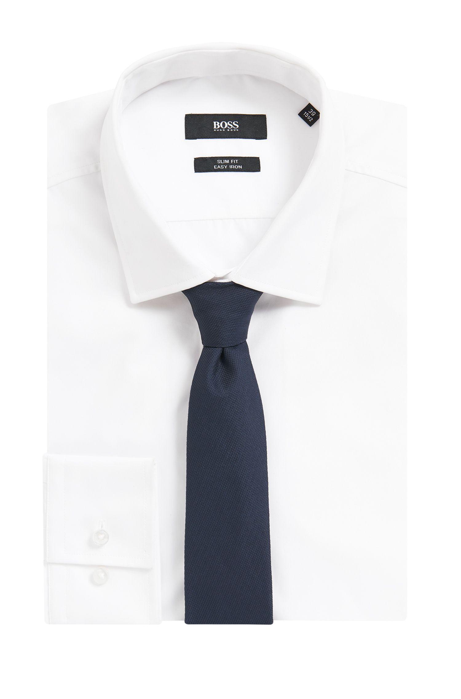 Italian Silk Repp Tie, Open Blue