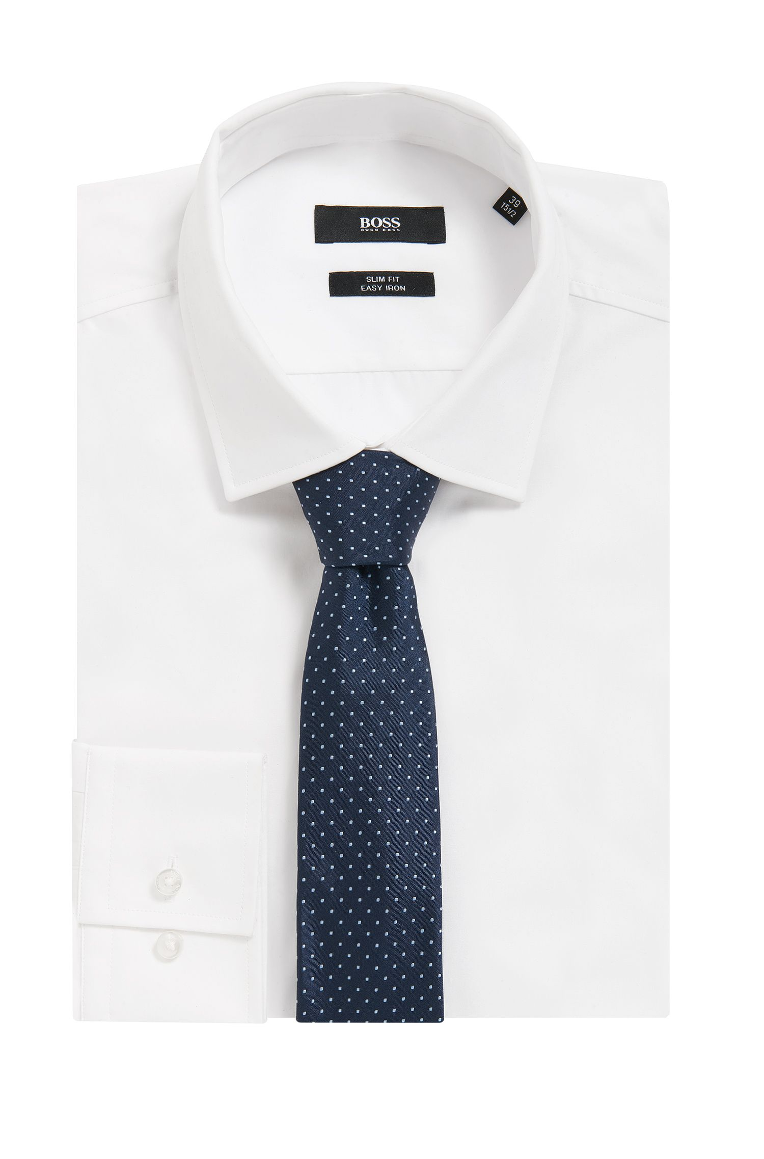 Dot Embroidered Italian Silk Slim Tie
