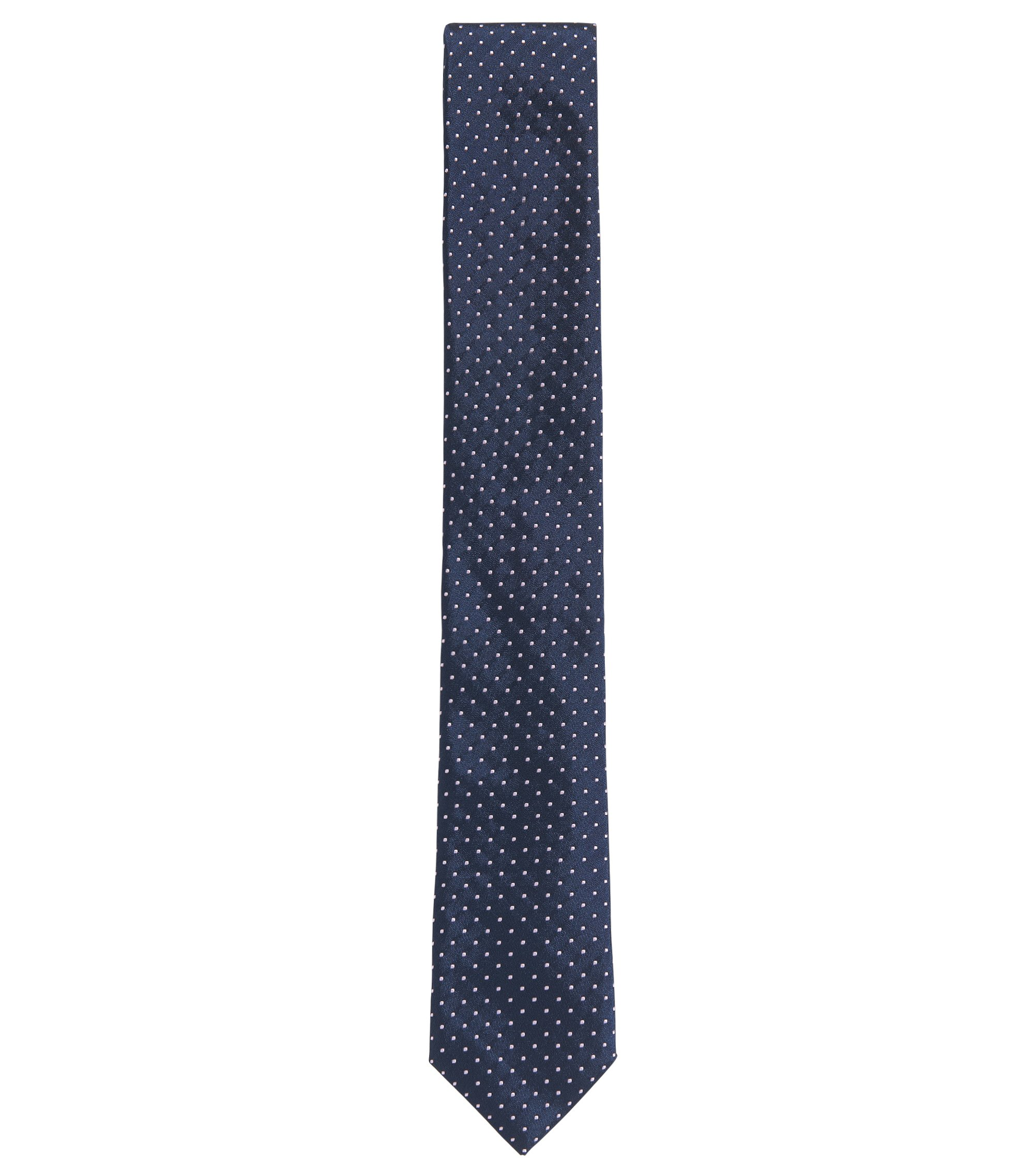Dot Embroidered Italian Silk Slim Tie, Purple