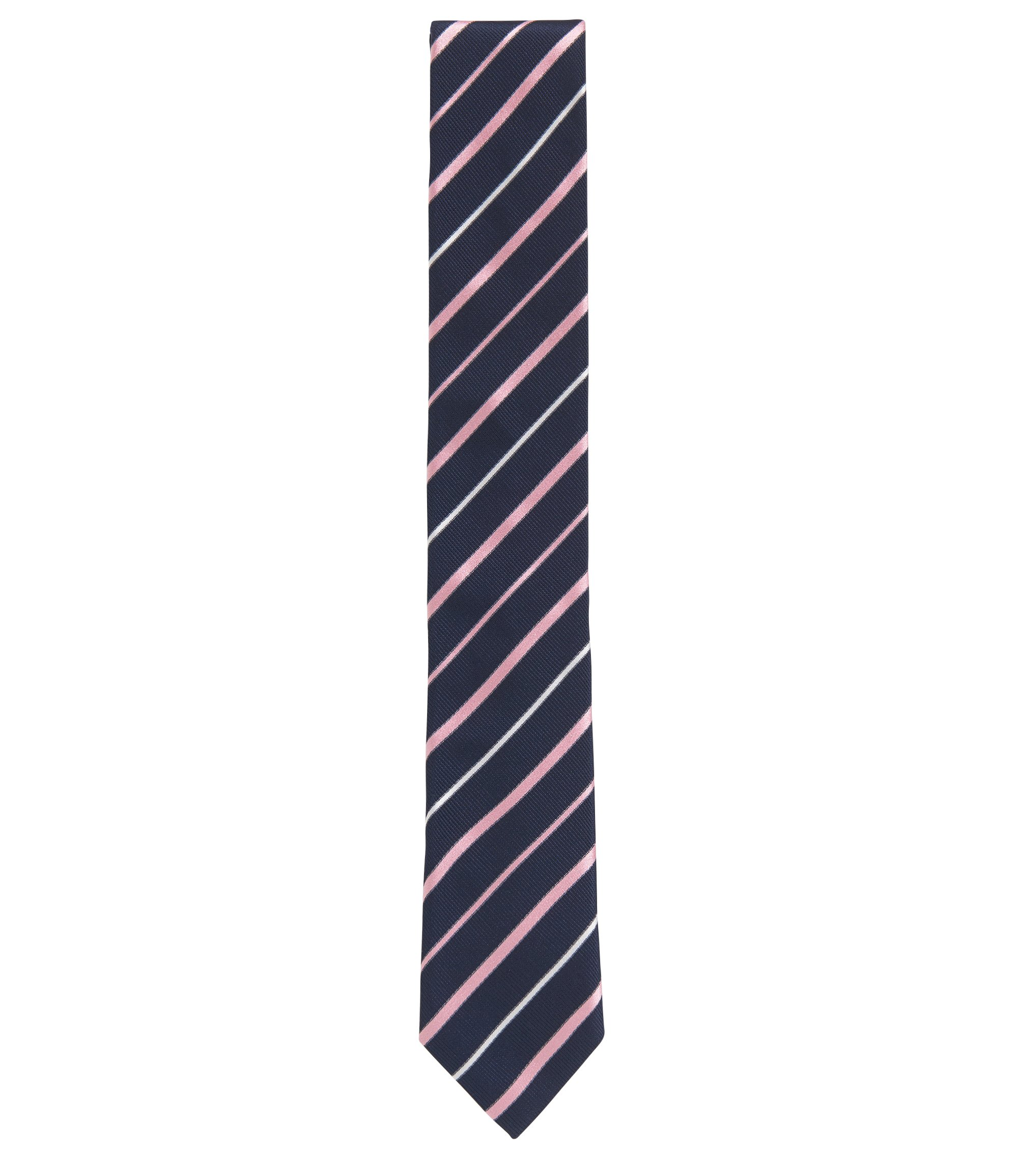 Striped Italian Silk Repp Slim Tie, light pink