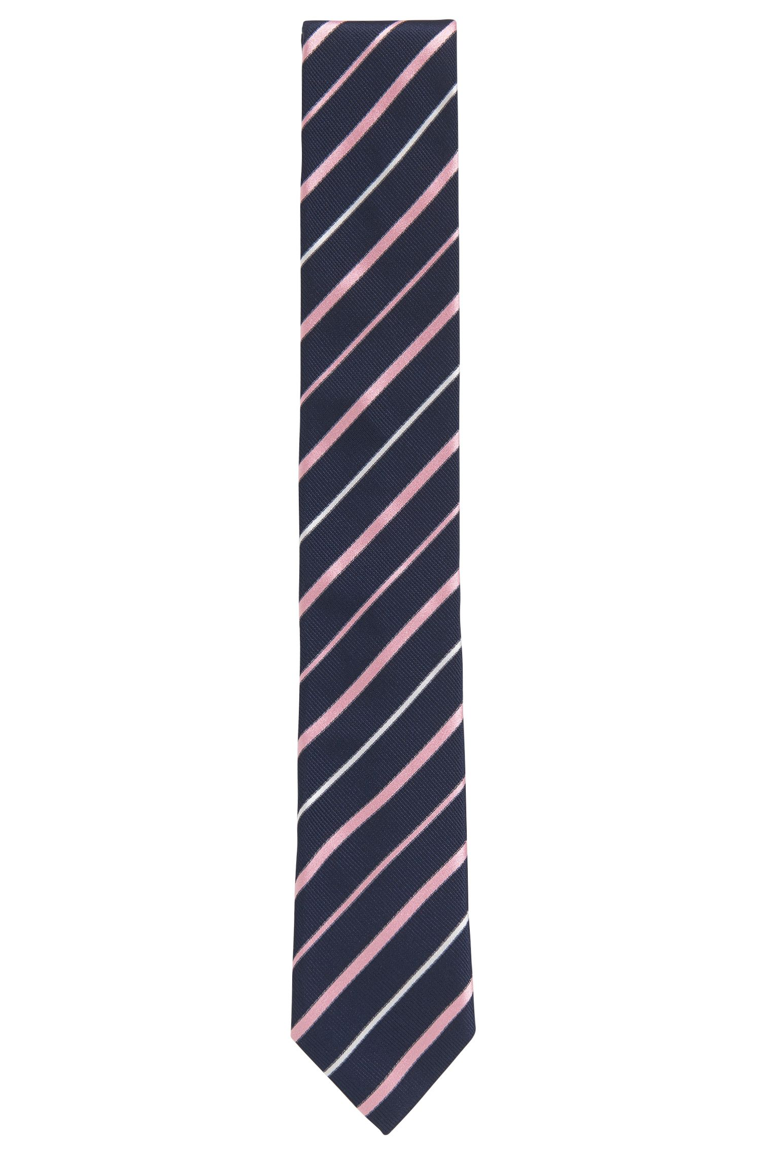 Striped Italian Silk Repp Slim Tie, light pink