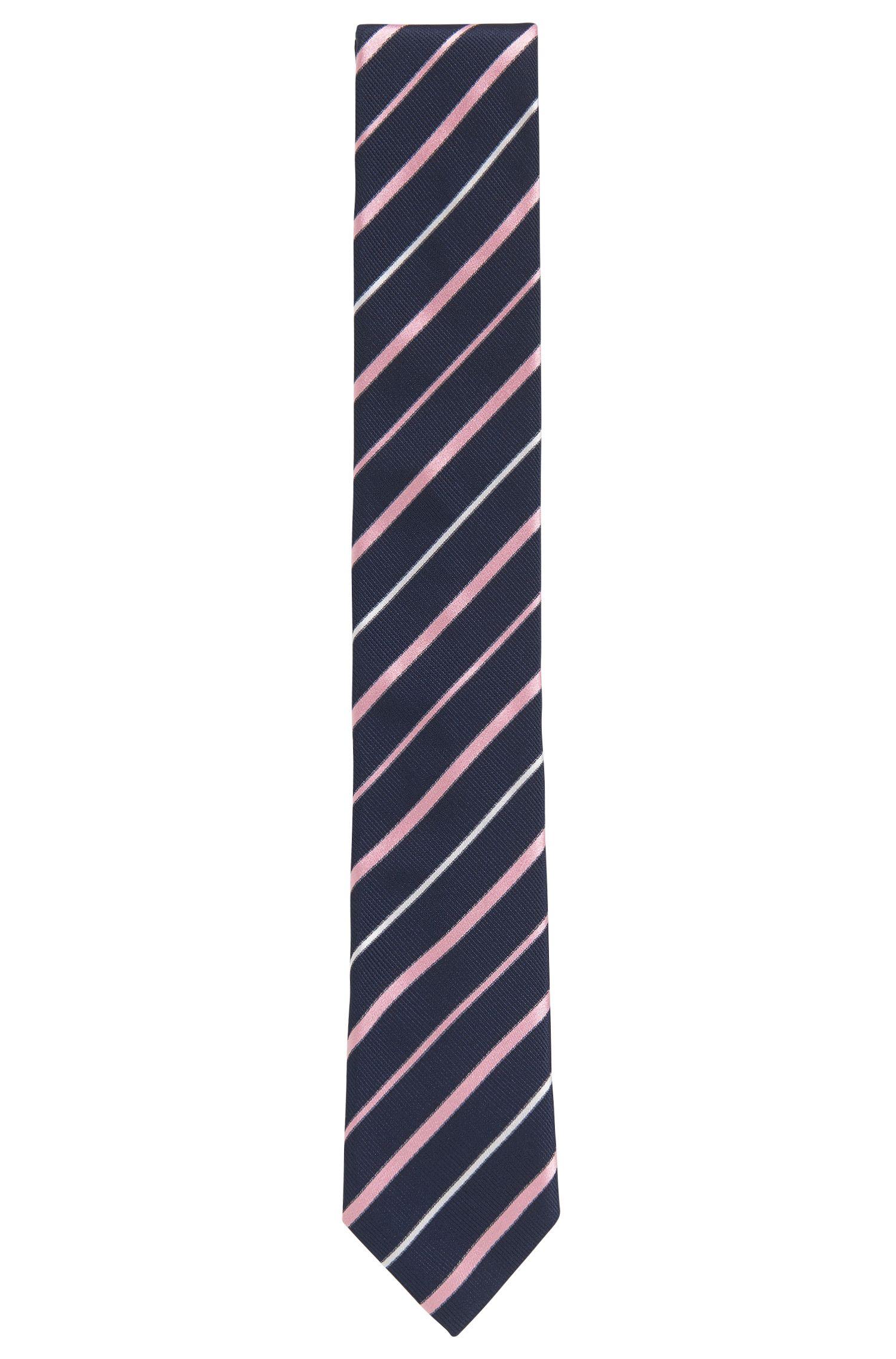 Striped Italian Silk Repp Slim Tie