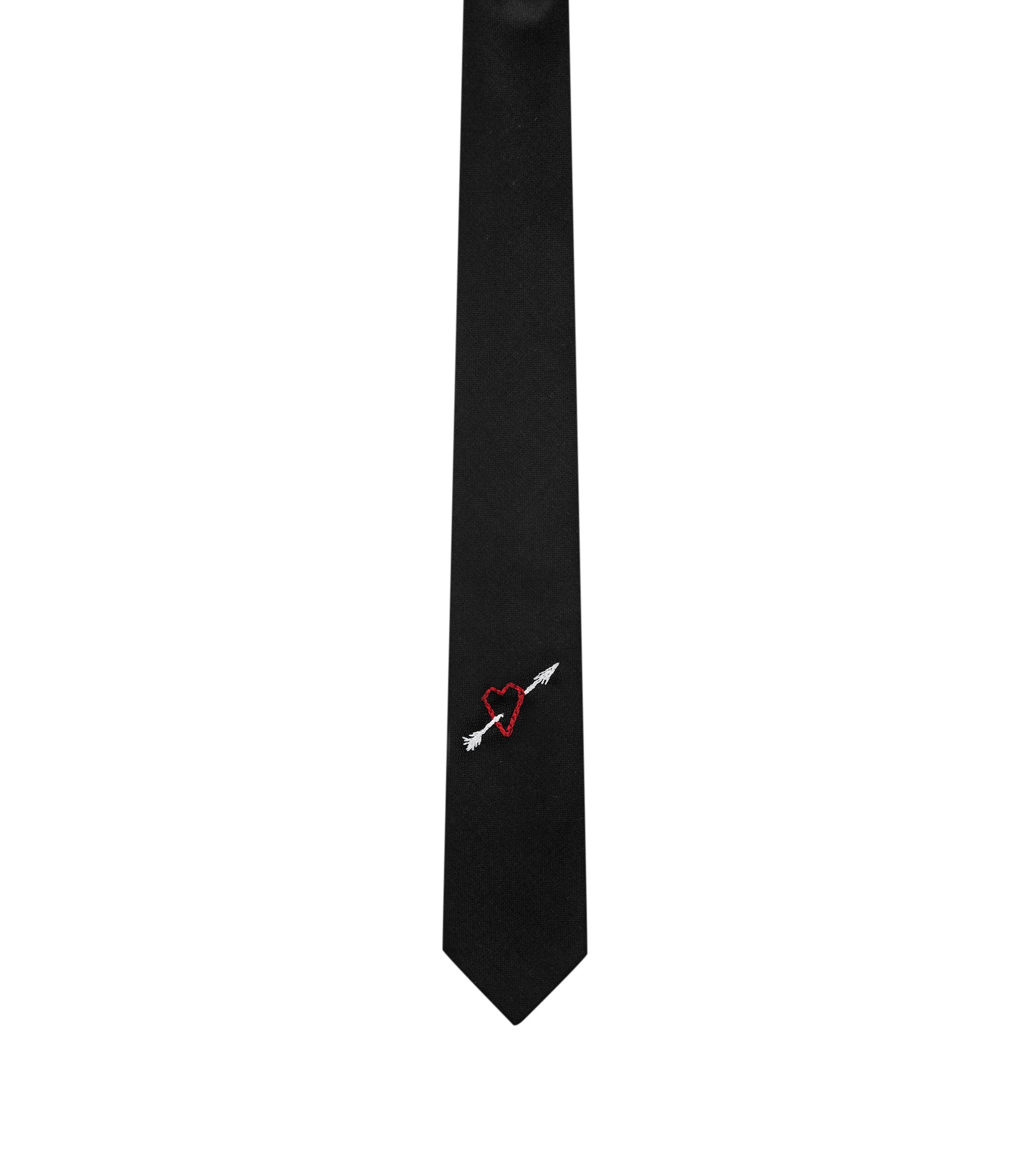 Heart-Embroidered Virgin Wool Slim Tie, Black