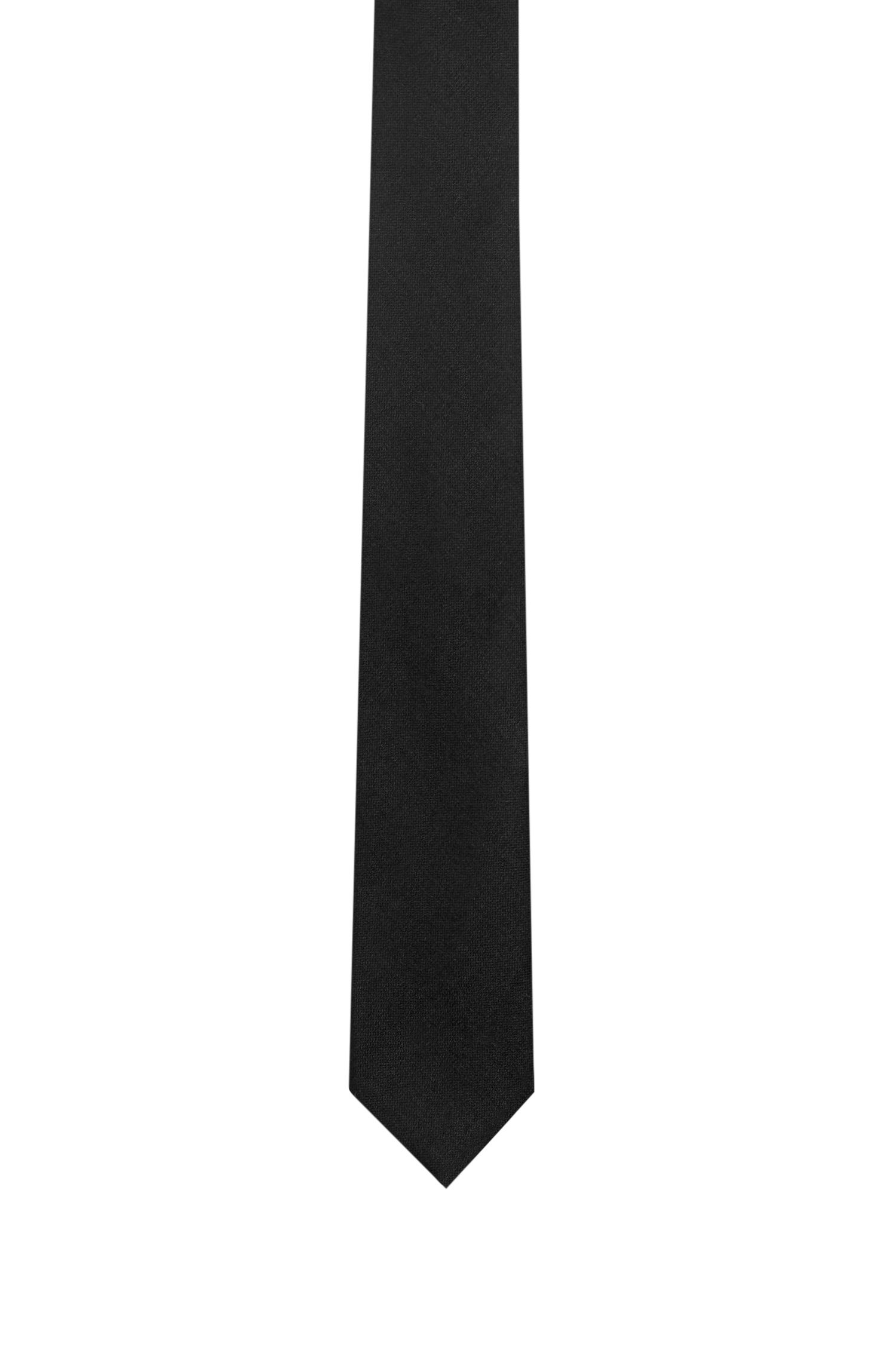 Embroidered Virgin Wool Slim Tie, Black