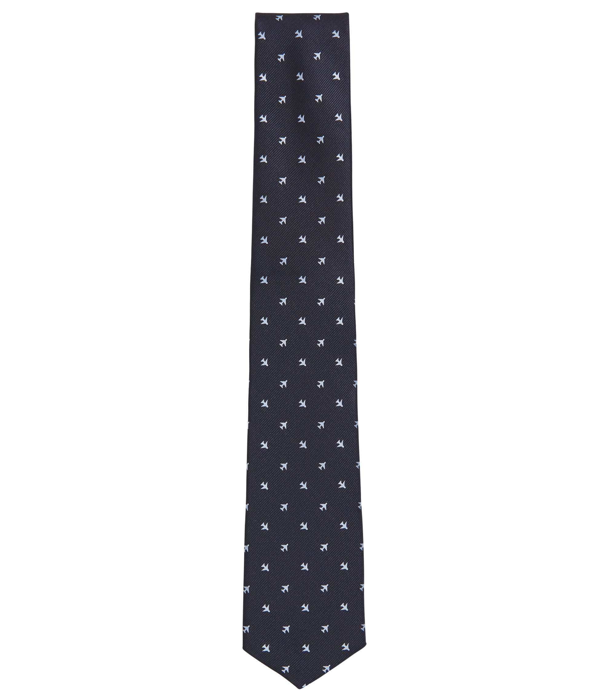 Traveler Airplane Italian Silk Repp Tie, Dark Blue