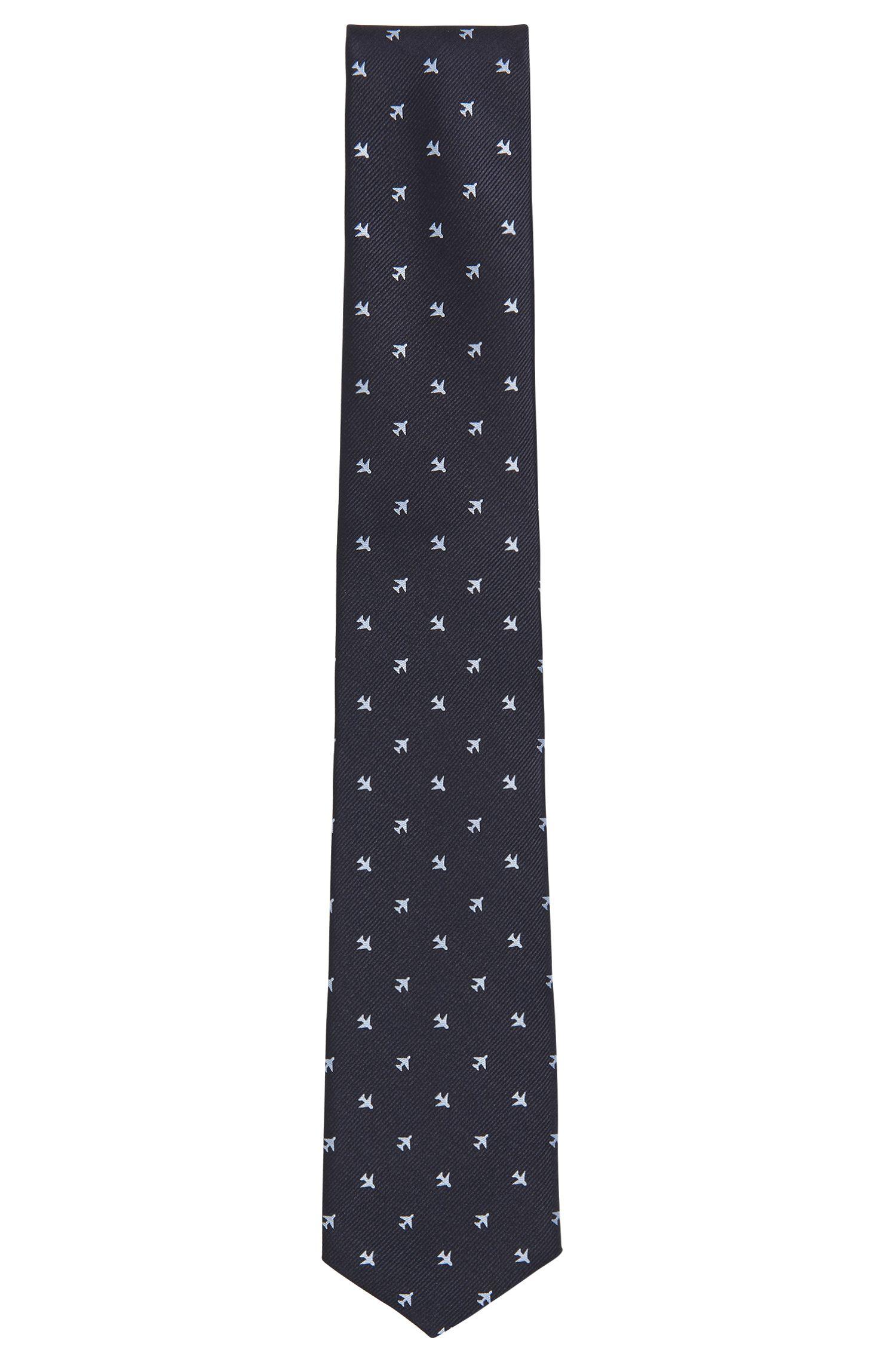 Traveler Airplane Italian Silk Repp Tie, Dark Blue