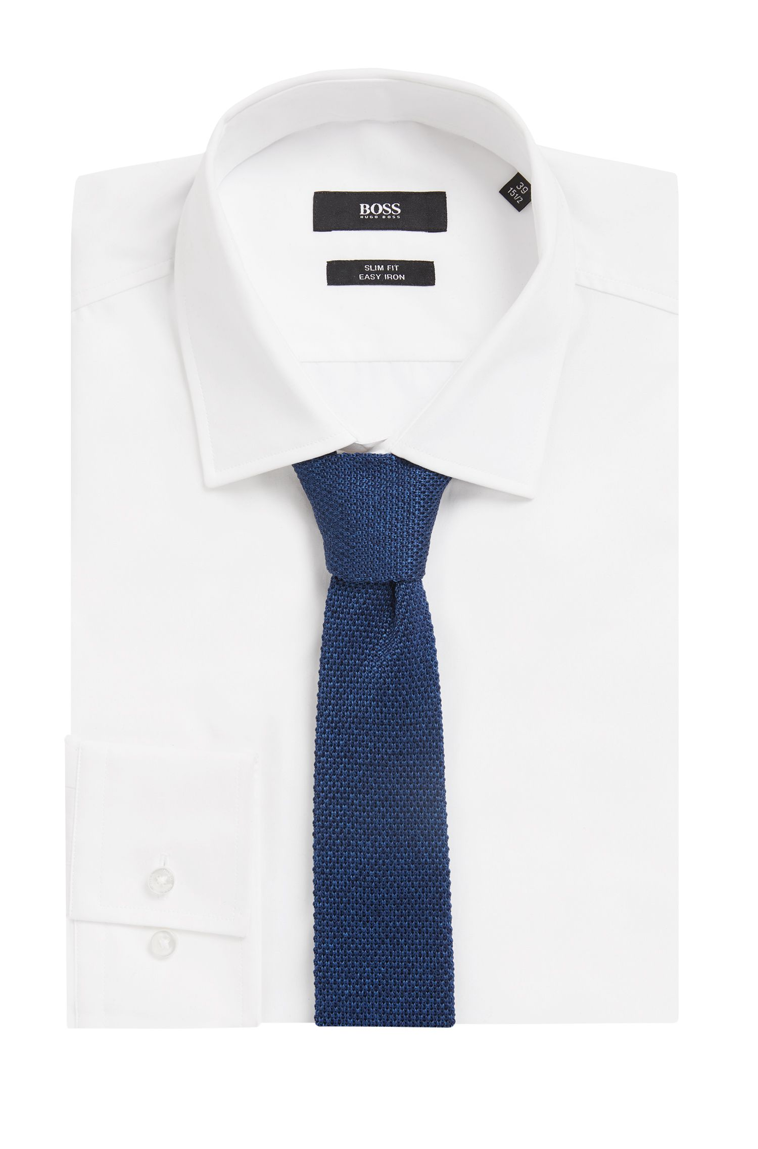 Italian-made straight-cut tie in knitted silk, Open Blue