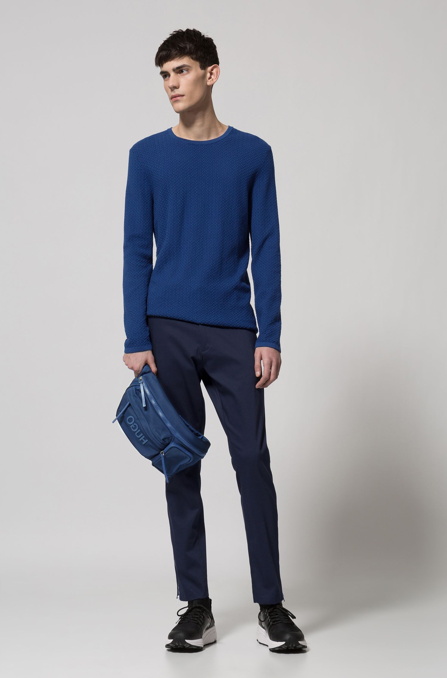 Slim-fit sweater in herringbone cotton jacquard