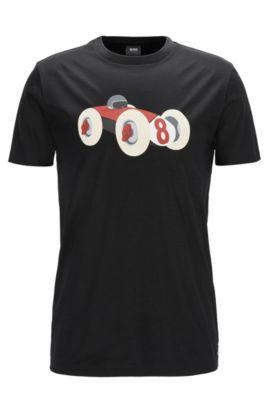 Racecar-Print  Cotton Graphic T-Shirt   Tessler PF, Black