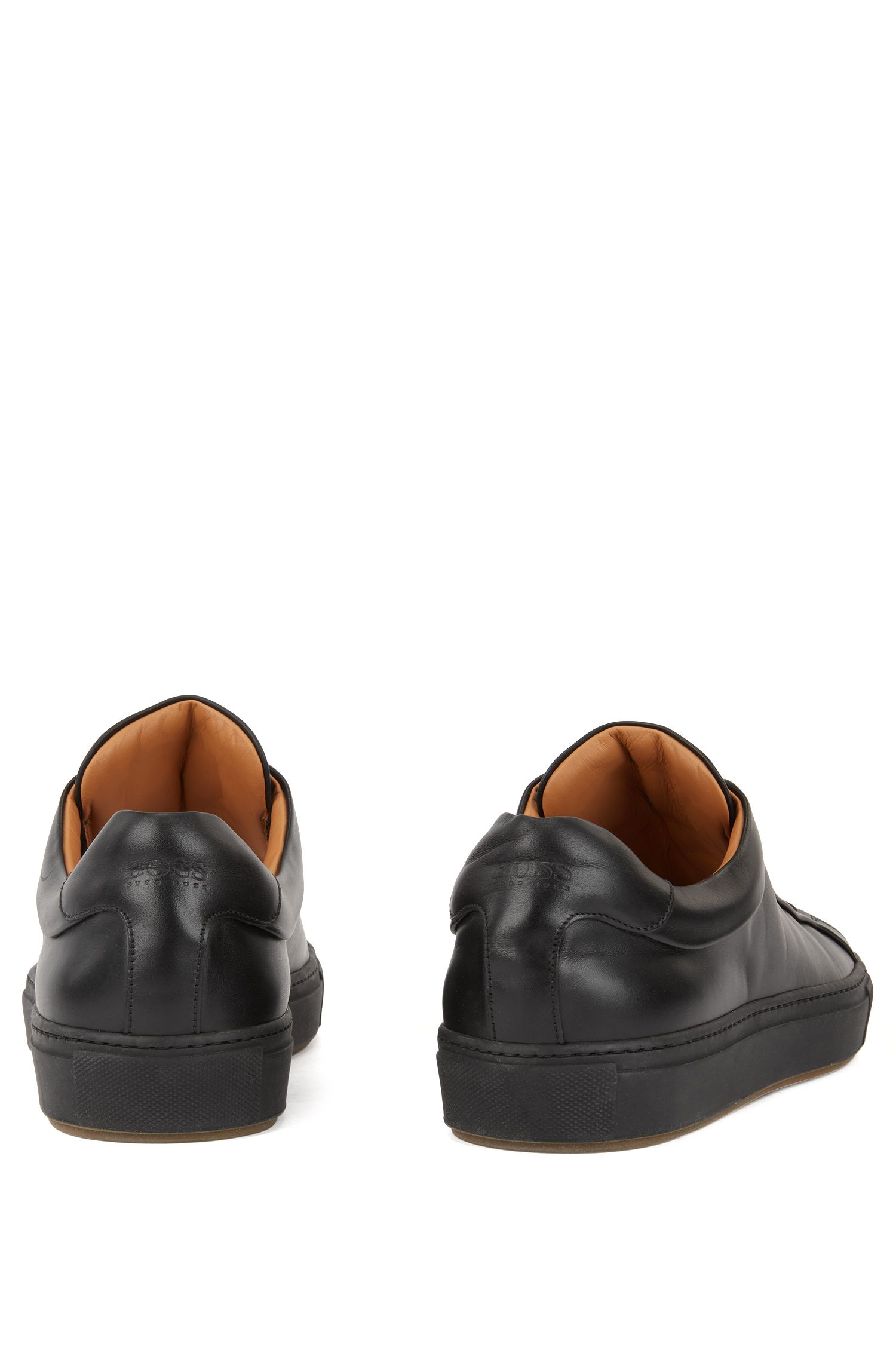 Tennis-style sneakers in burnished leather, Black