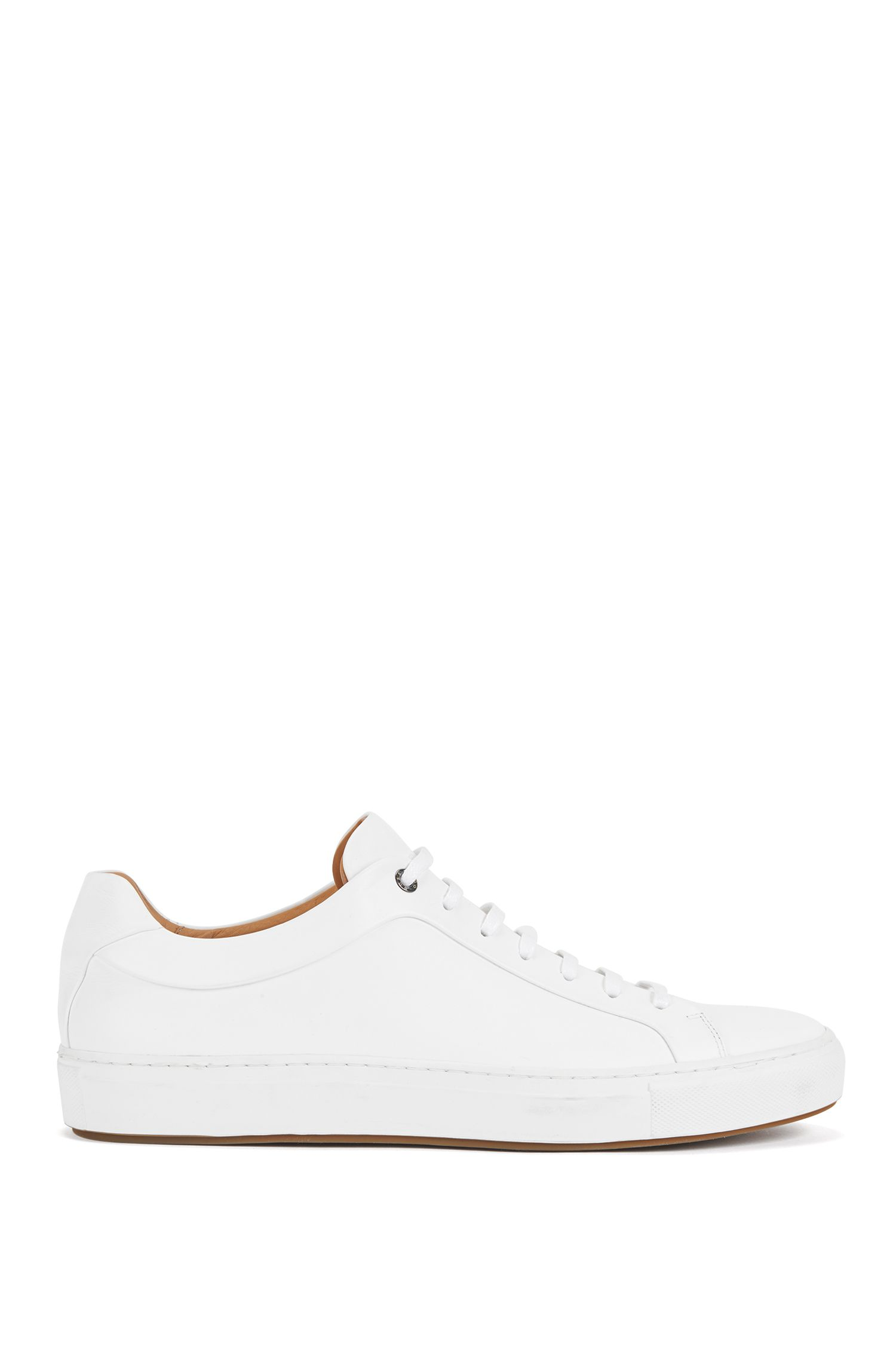 Tennis-style sneakers in burnished leather, White