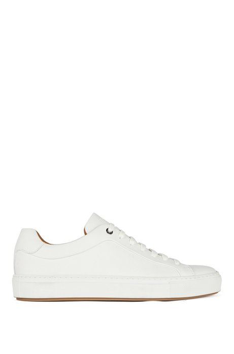 Low-top trainers in burnished calf leather, White