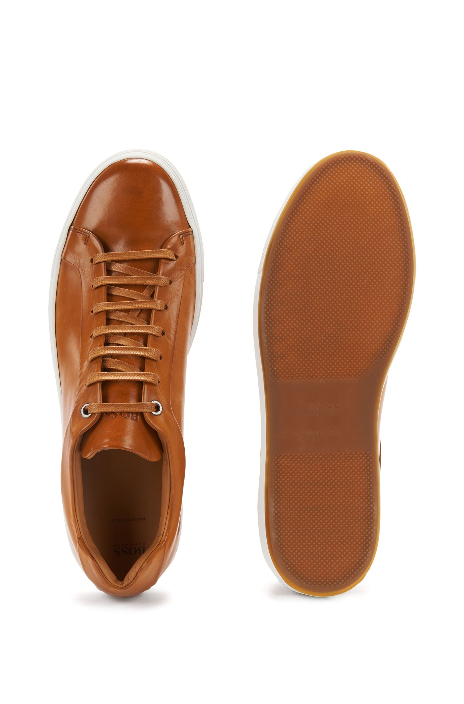 Tennis-style sneakers in burnished leather, Brown