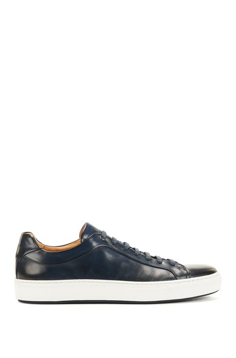Low-top trainers in burnished calf leather, Dark Blue