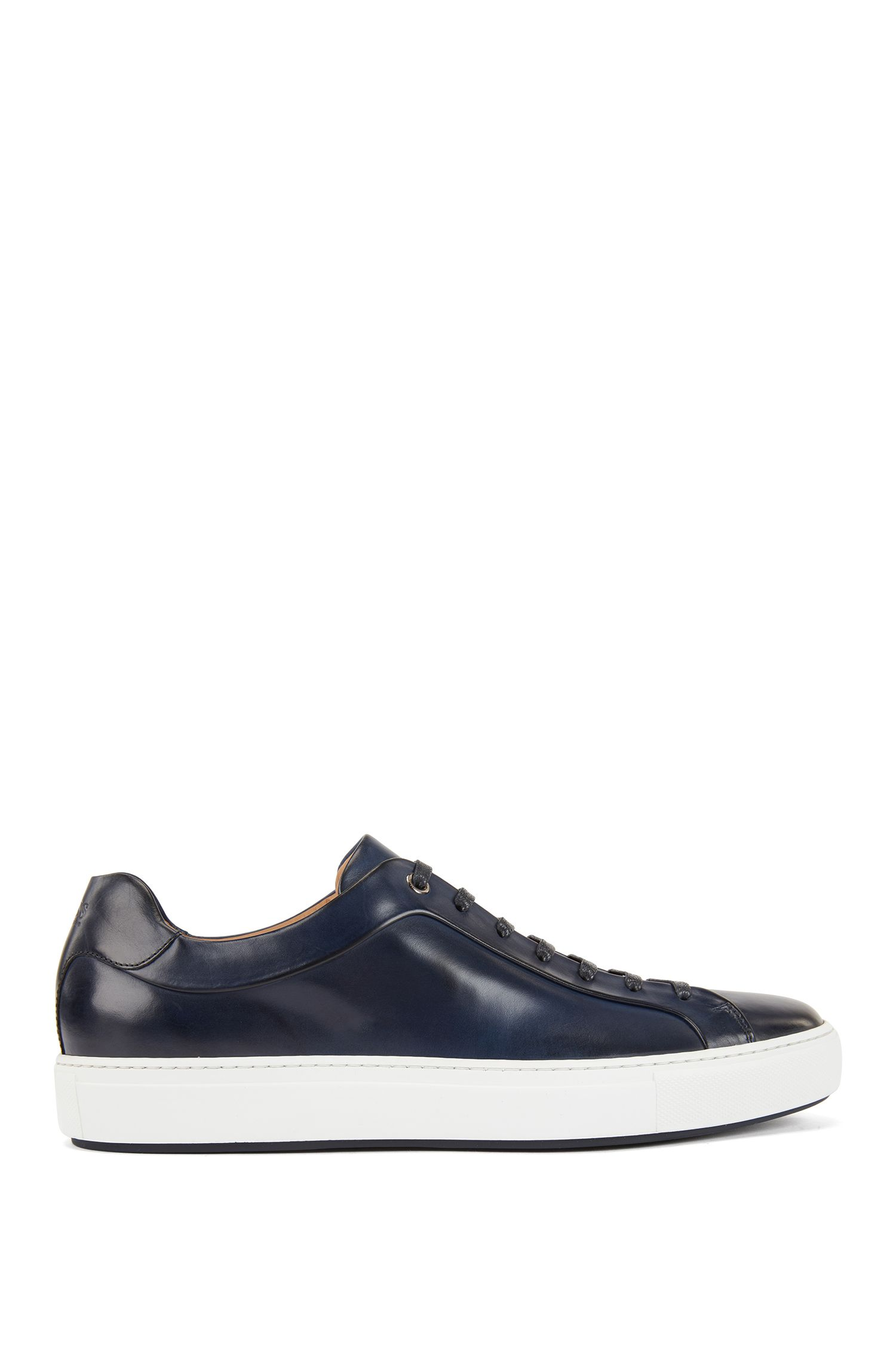 Tennis-style sneakers in burnished leather, Dark Blue