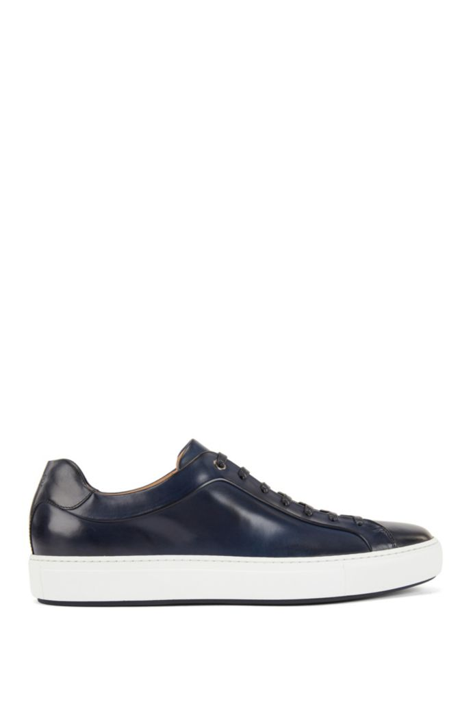 Low-top trainers in burnished calf leather