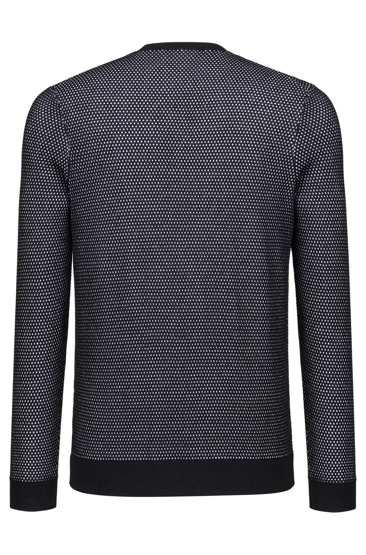 Crew-neck sweater in two-color knitted cotton piqué , Black