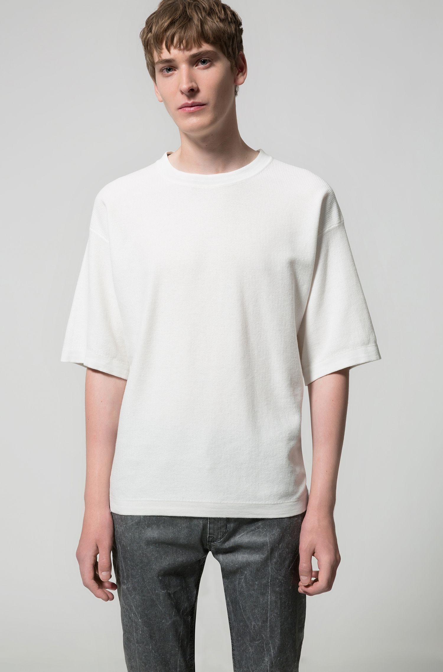 Oversized-fit short-sleeved sweater in textured cotton, Natural