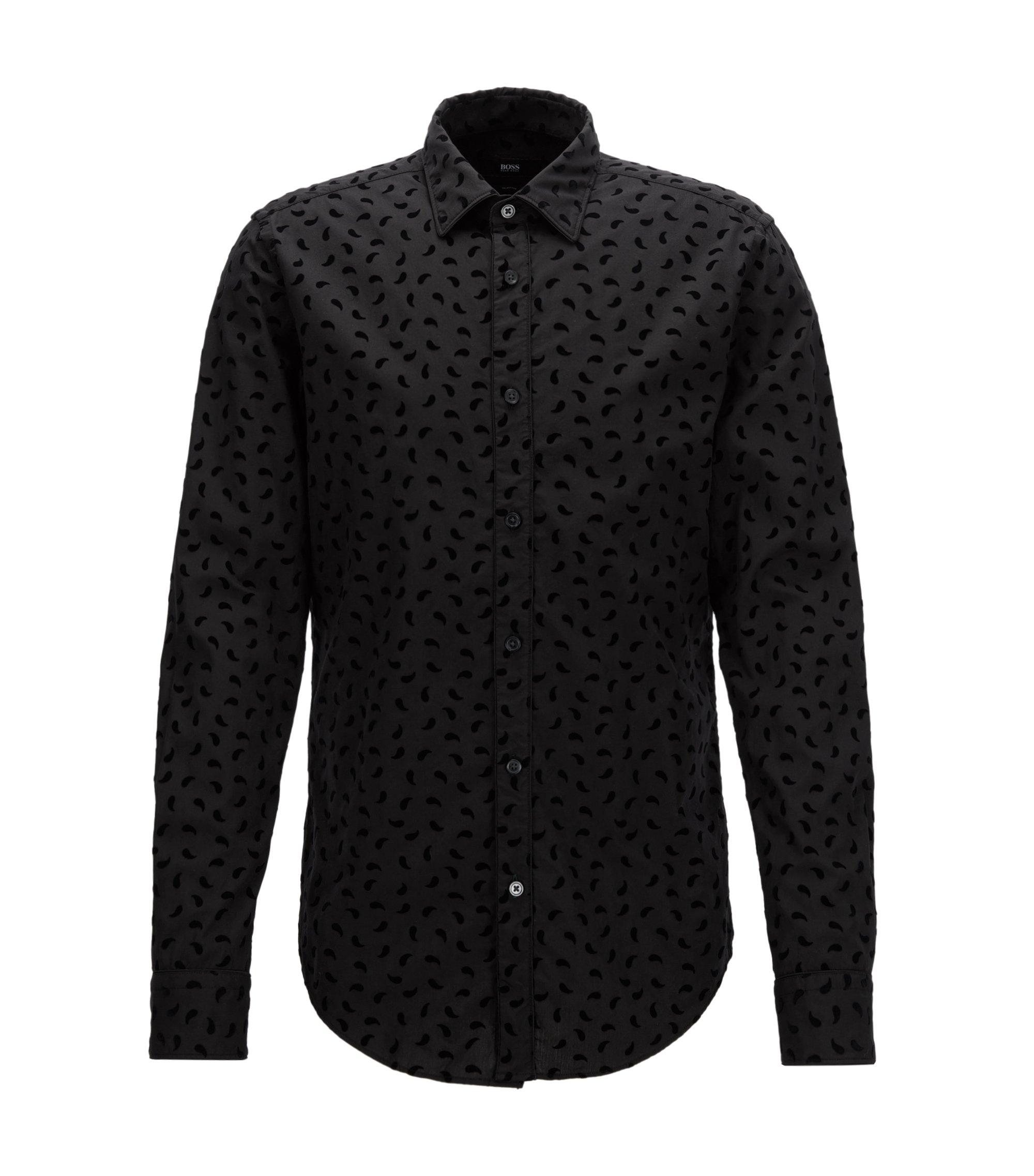 Paisley-Patterned Cotton Sport Shirt, Slim Fit | Reando, Black