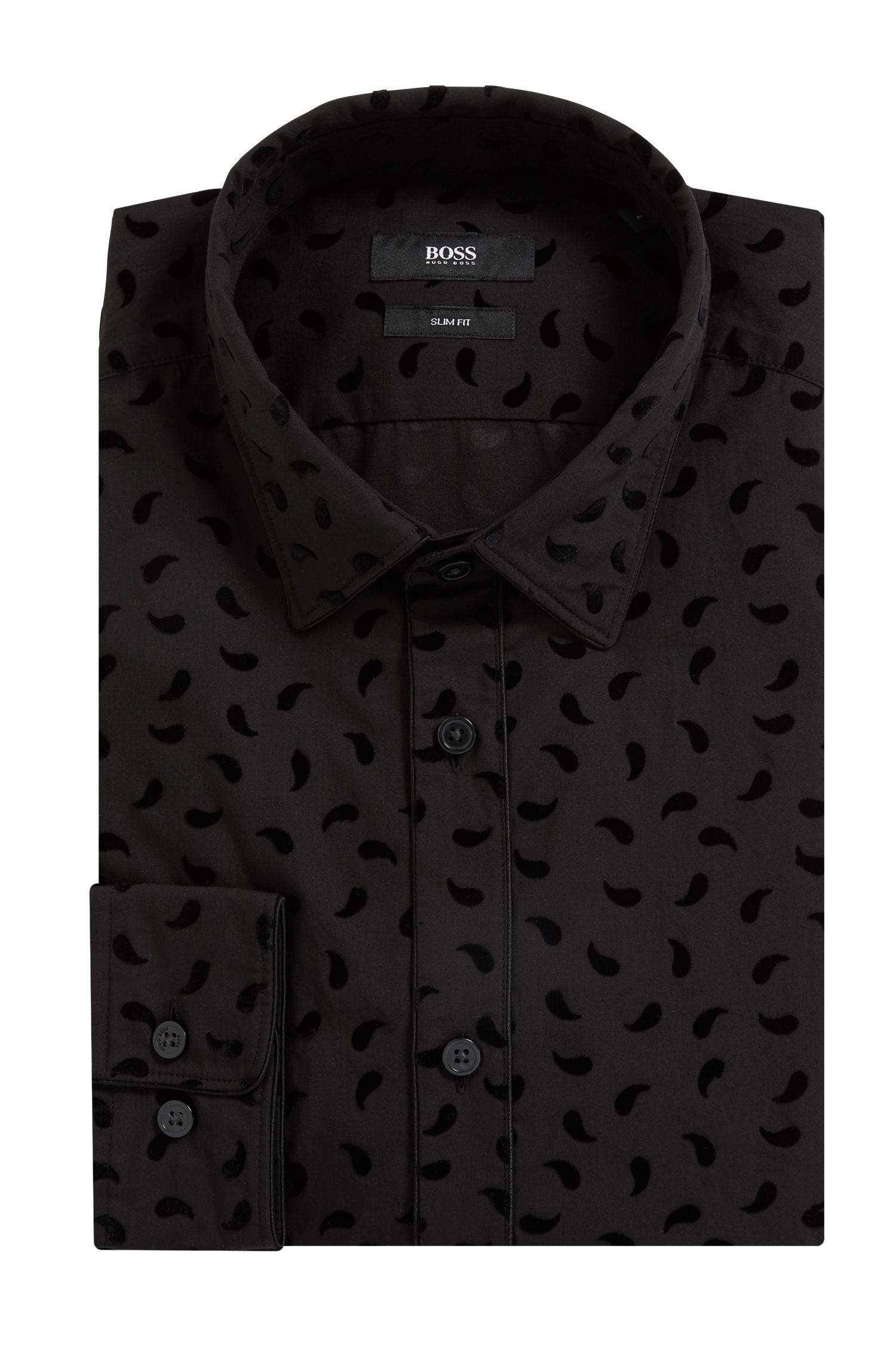 Paisley-Patterned Cotton Sport Shirt, Slim Fit | Reando