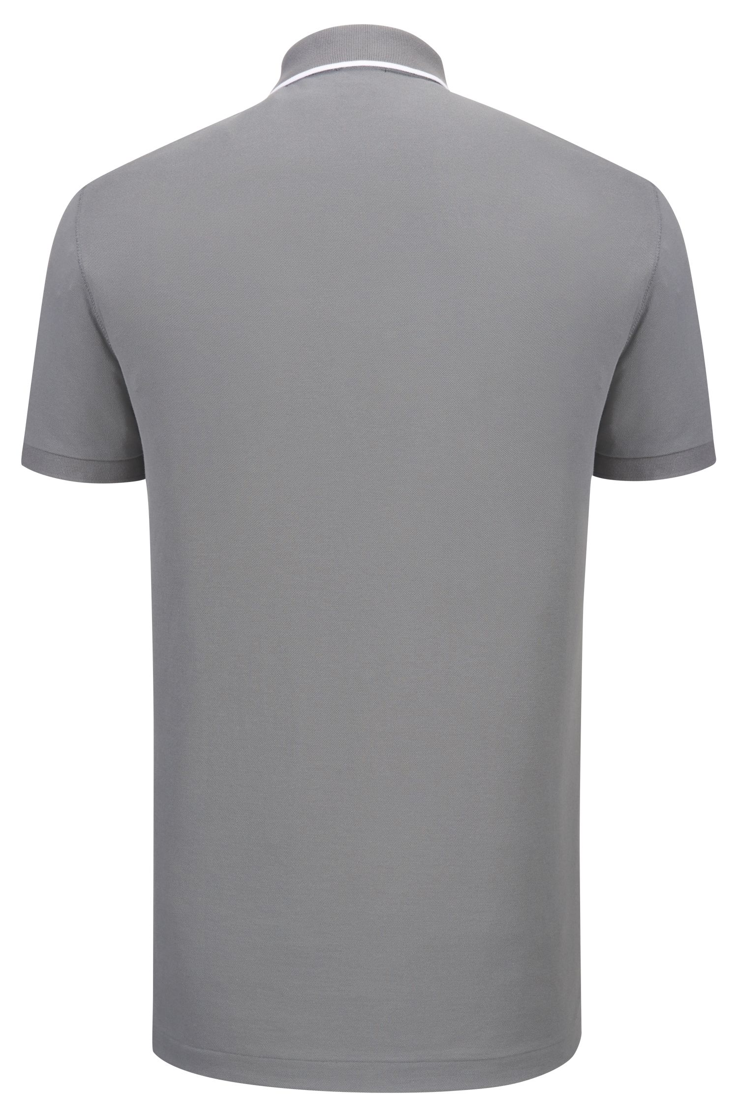 Trimmed Pima Cotton Polo Shirt, Regular Fit | Parlay, Open Grey