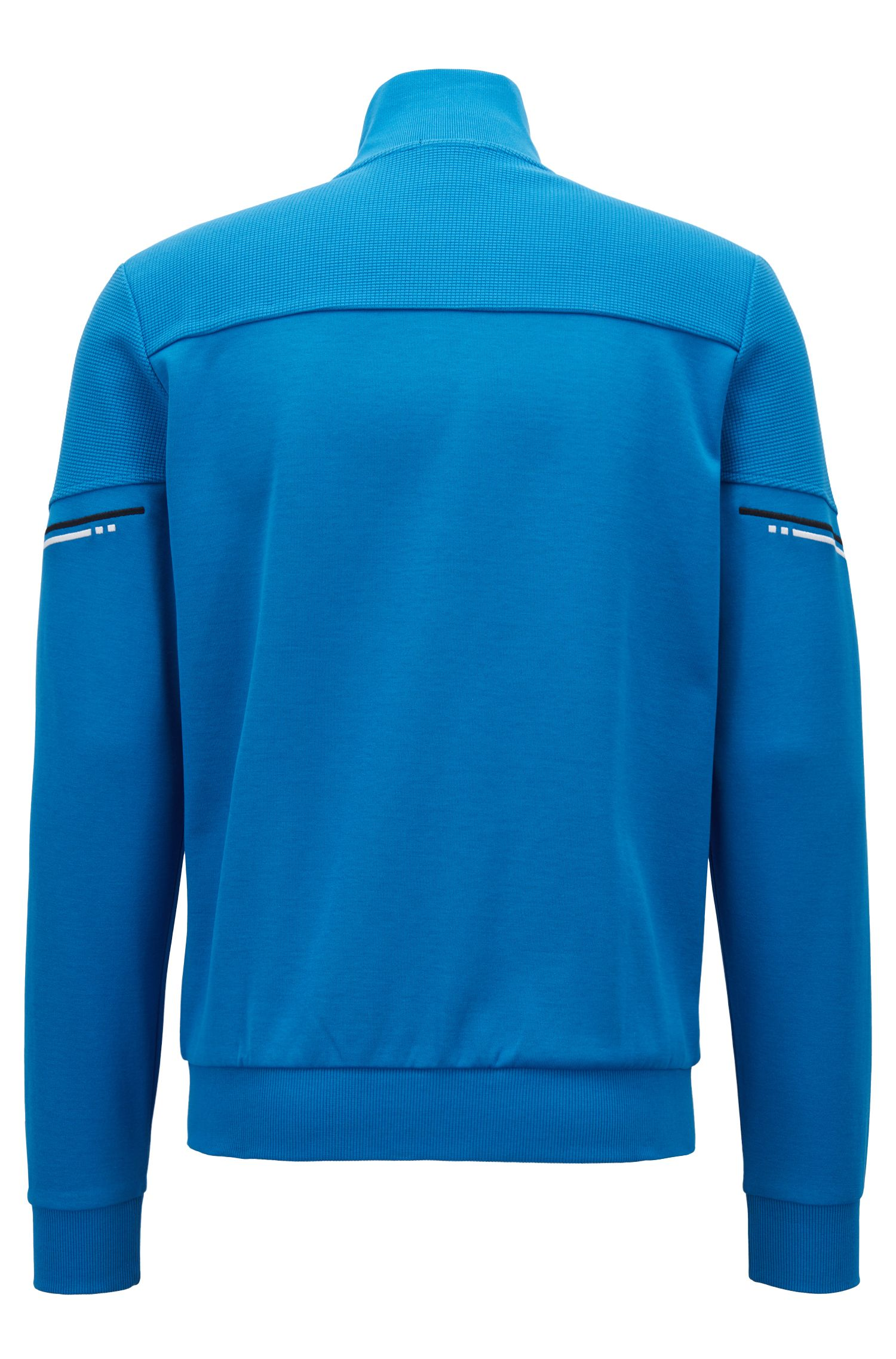 Zip-through sweatshirt with tonal structured panels, Blue