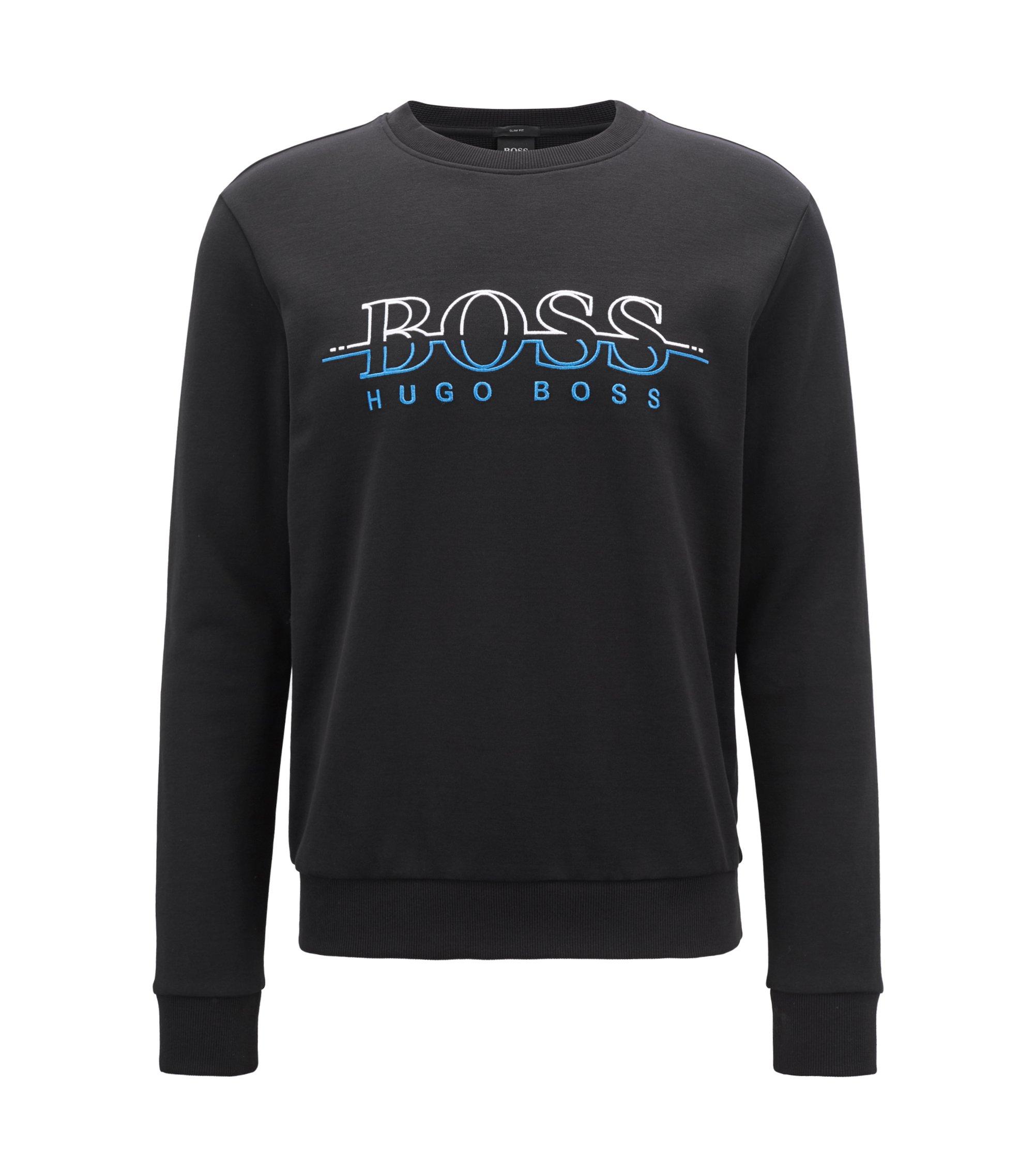 Crew-neck logo sweatshirt in a cotton blend, Black