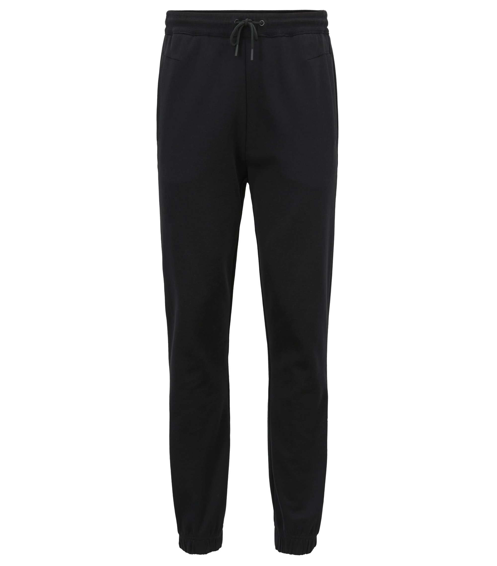 Cuffed slim-fit jogging pants with embroidered stripe, Black