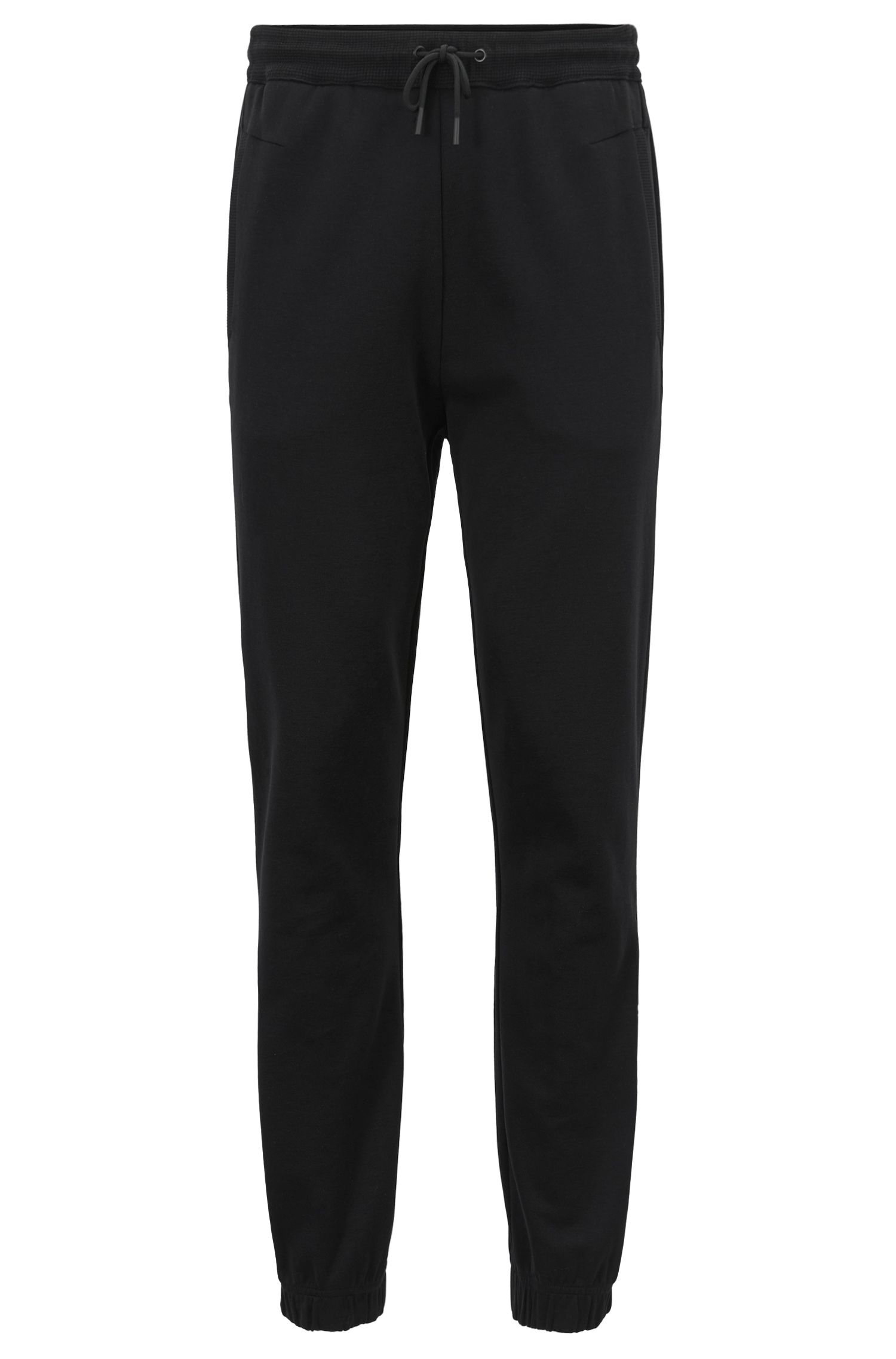 Cuffed slim-fit jogging bottoms with embroidered stripe BOSS
