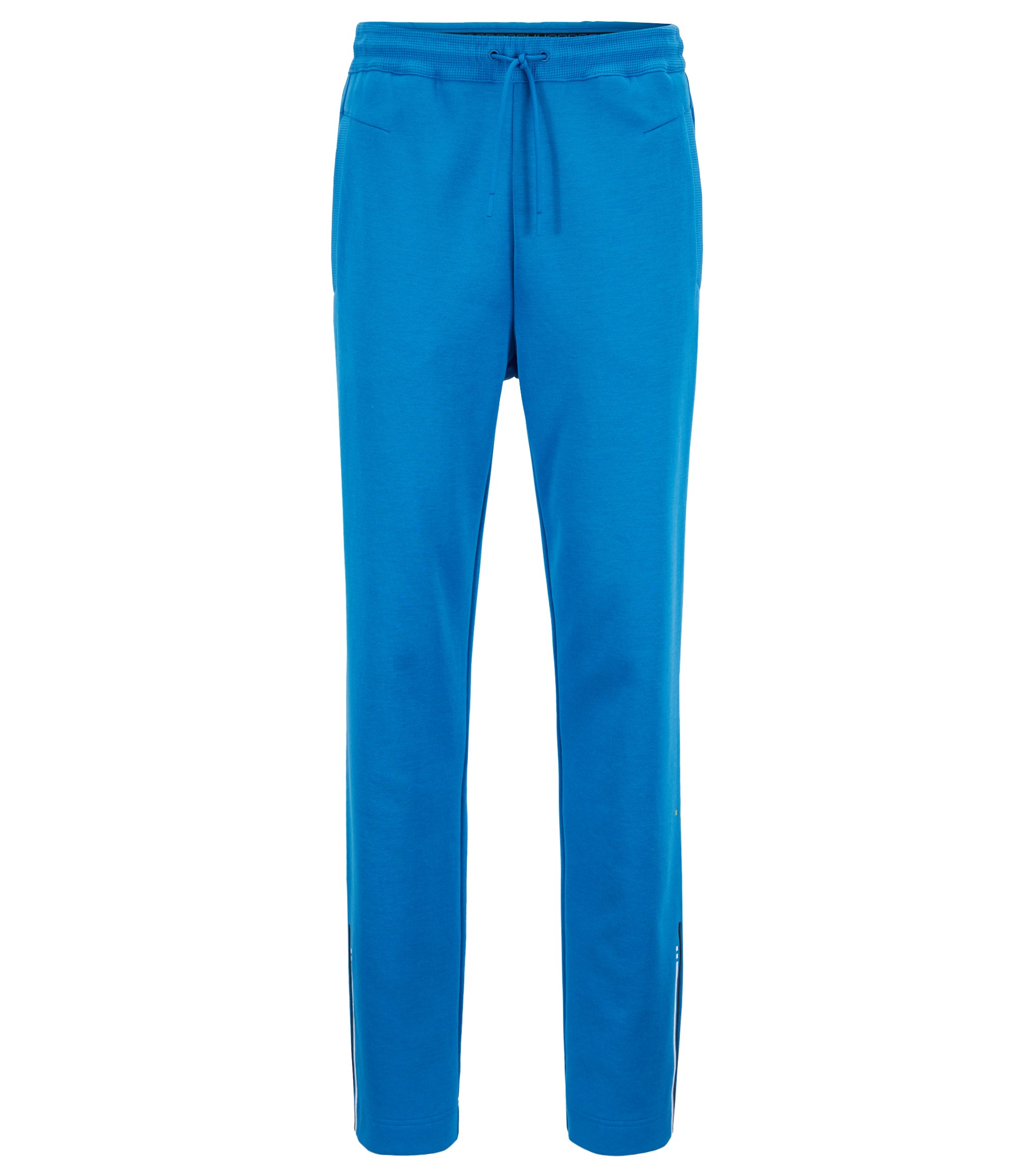 Slim-fit jersey pants with embroidered stripe open hems, Blue