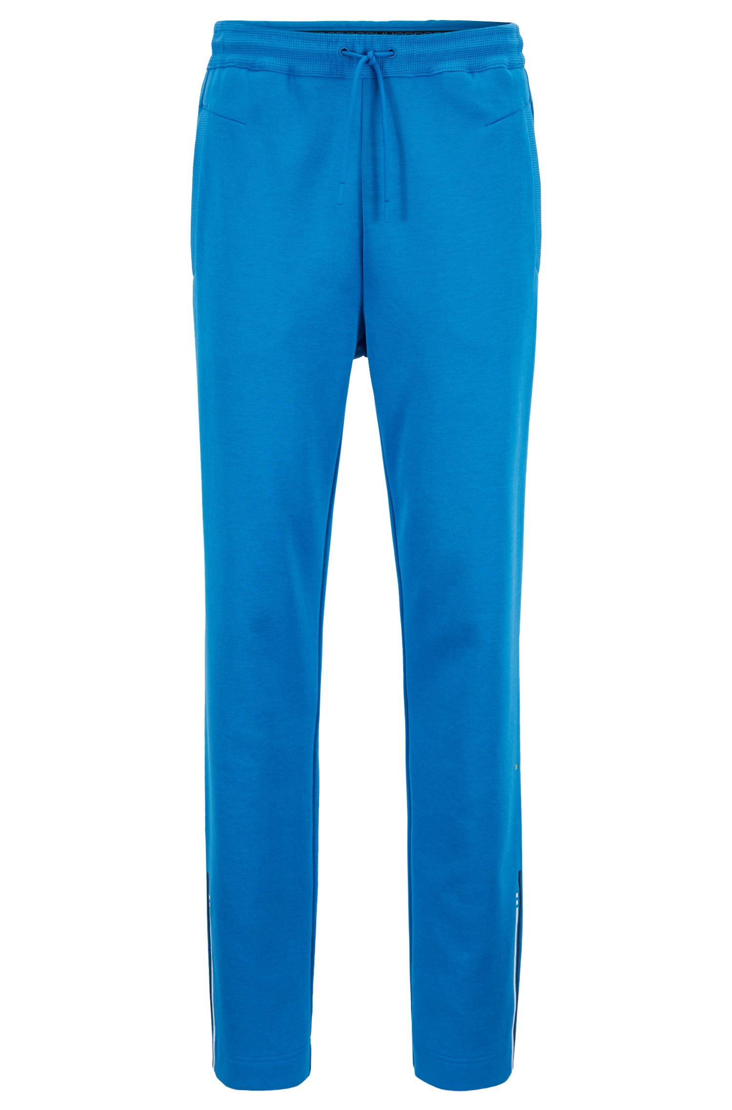 Slim-fit jersey pants with embroidered stripe open hems