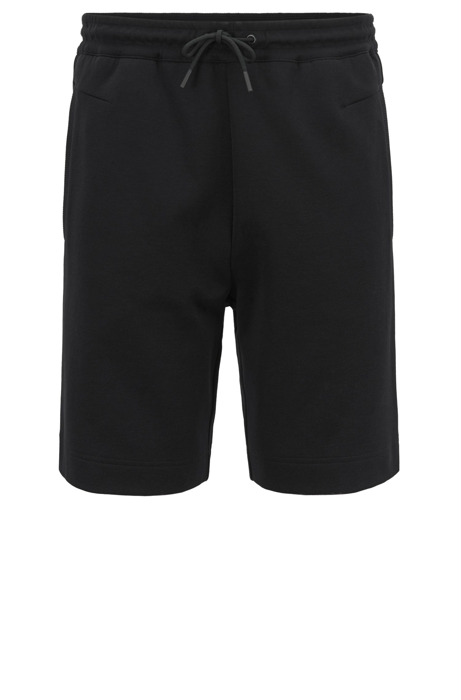Slim-fit cotton-blend shorts with two-color logo embroidery, Black