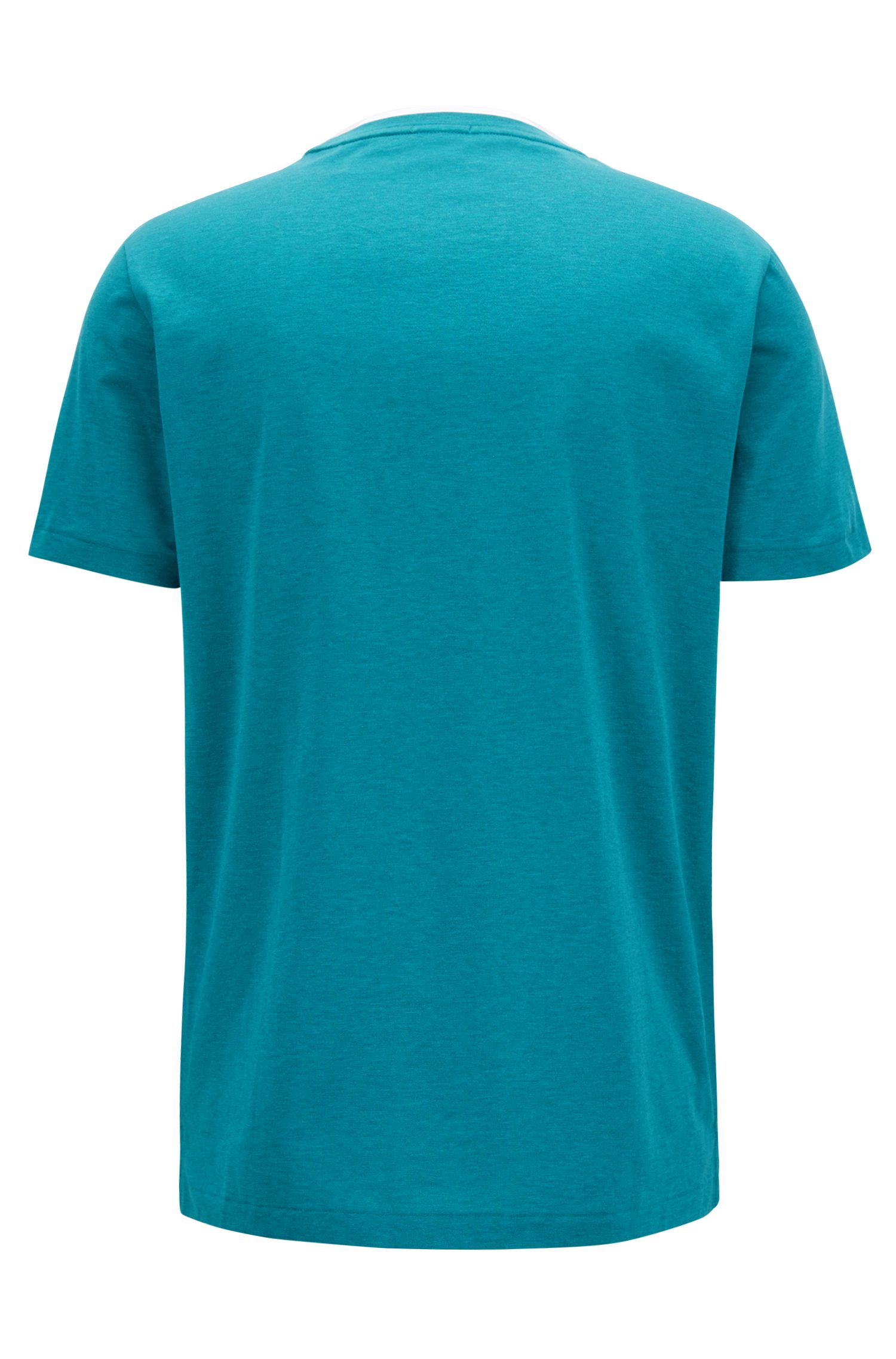 Double-collar T-shirt in mercerized single-jersey cotton, Green