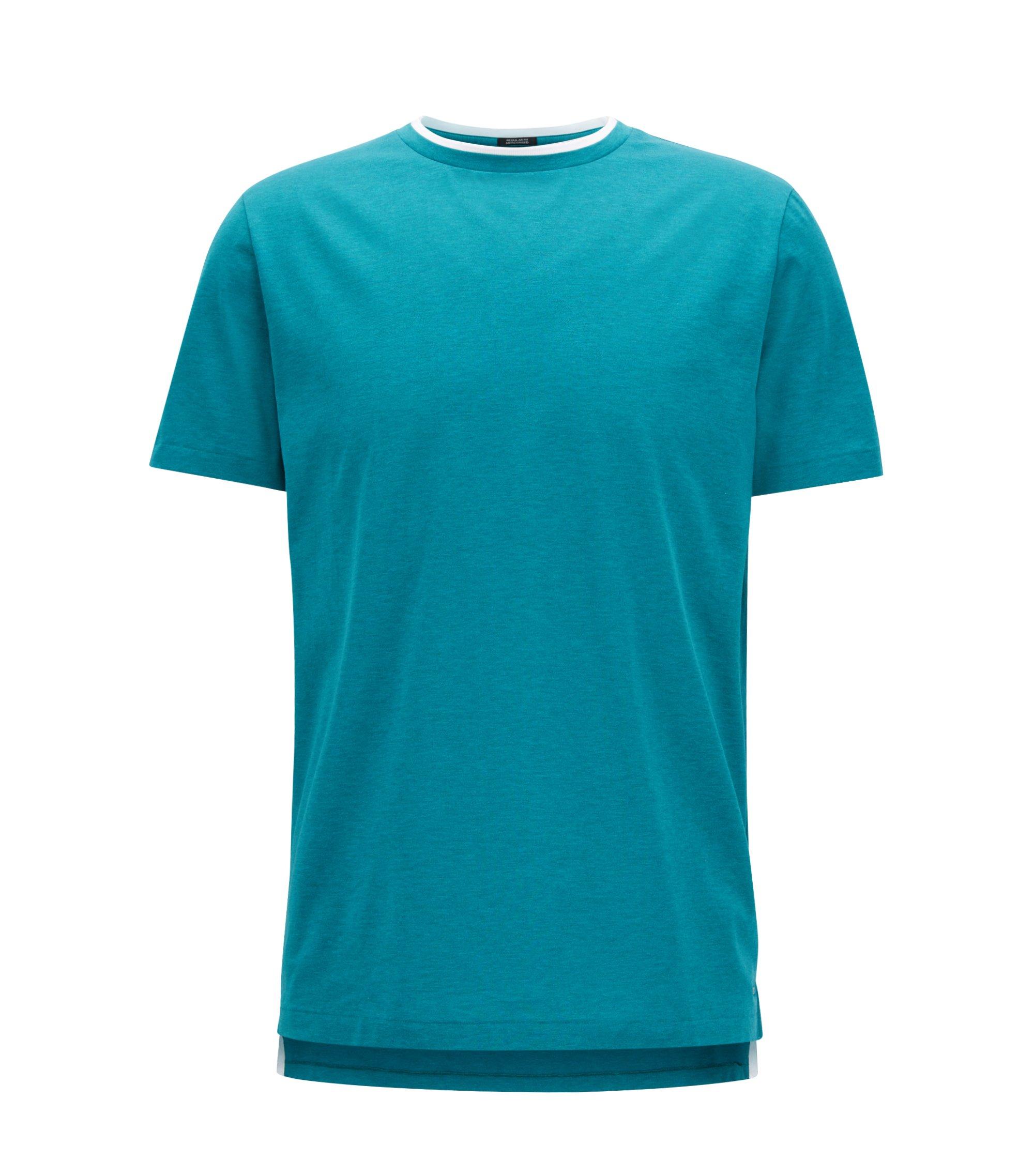 Double-collar T-shirt in mercerized single-jersey cotton, Green