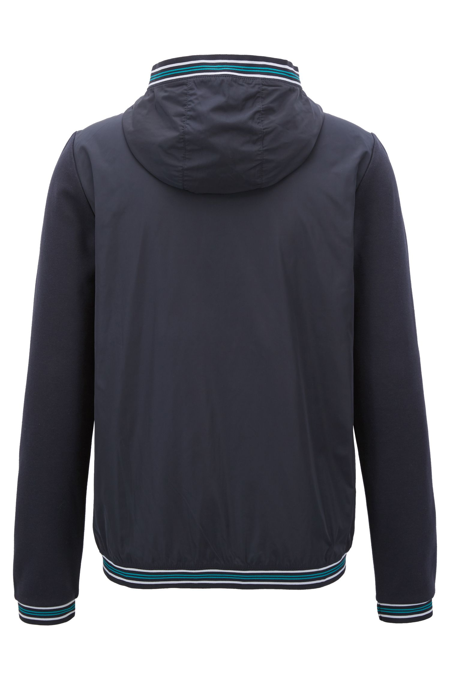 Zippered hooded sweatshirt with tape trims