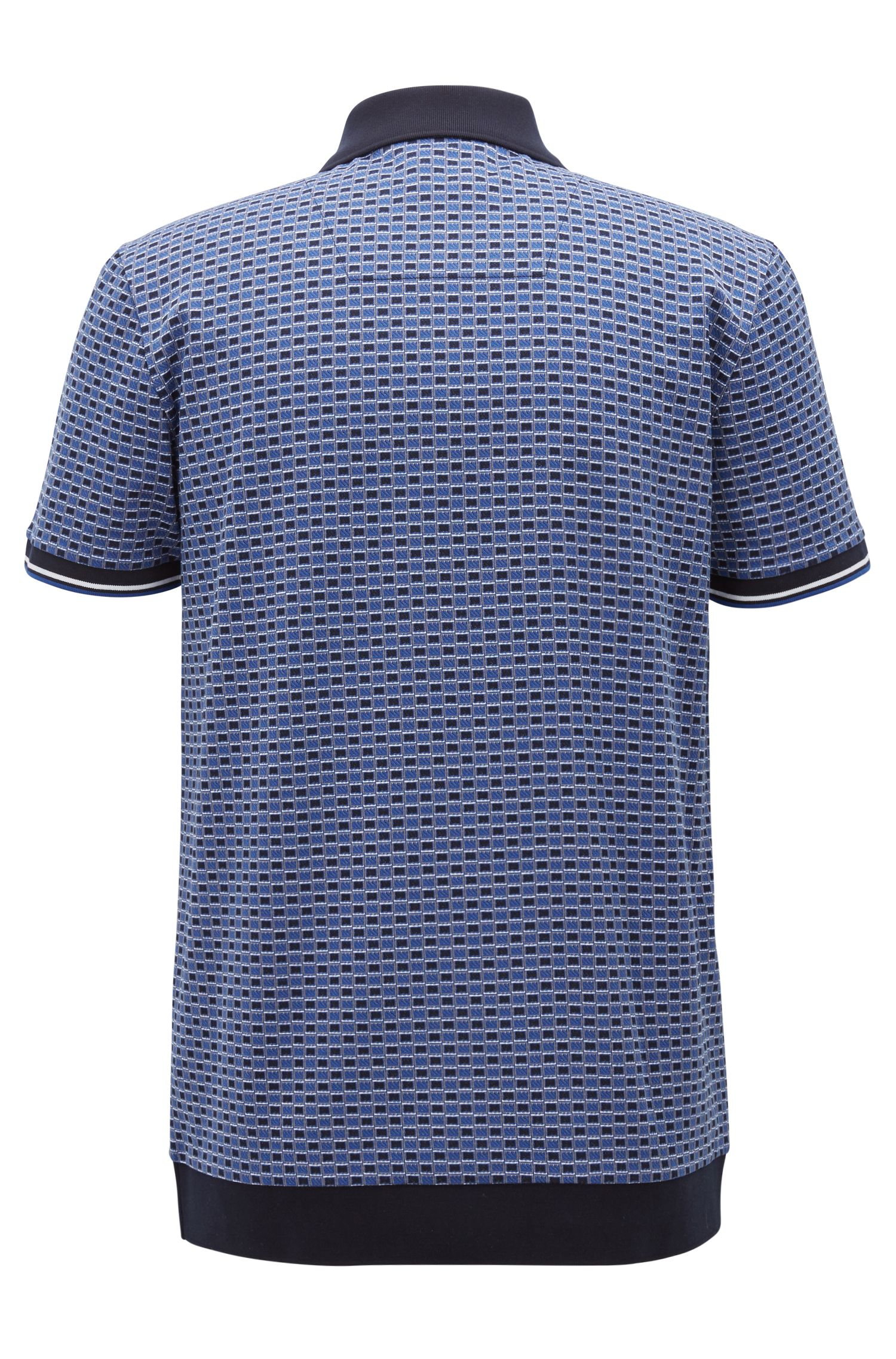 Micro-patterned polo shirt in cotton jacquard