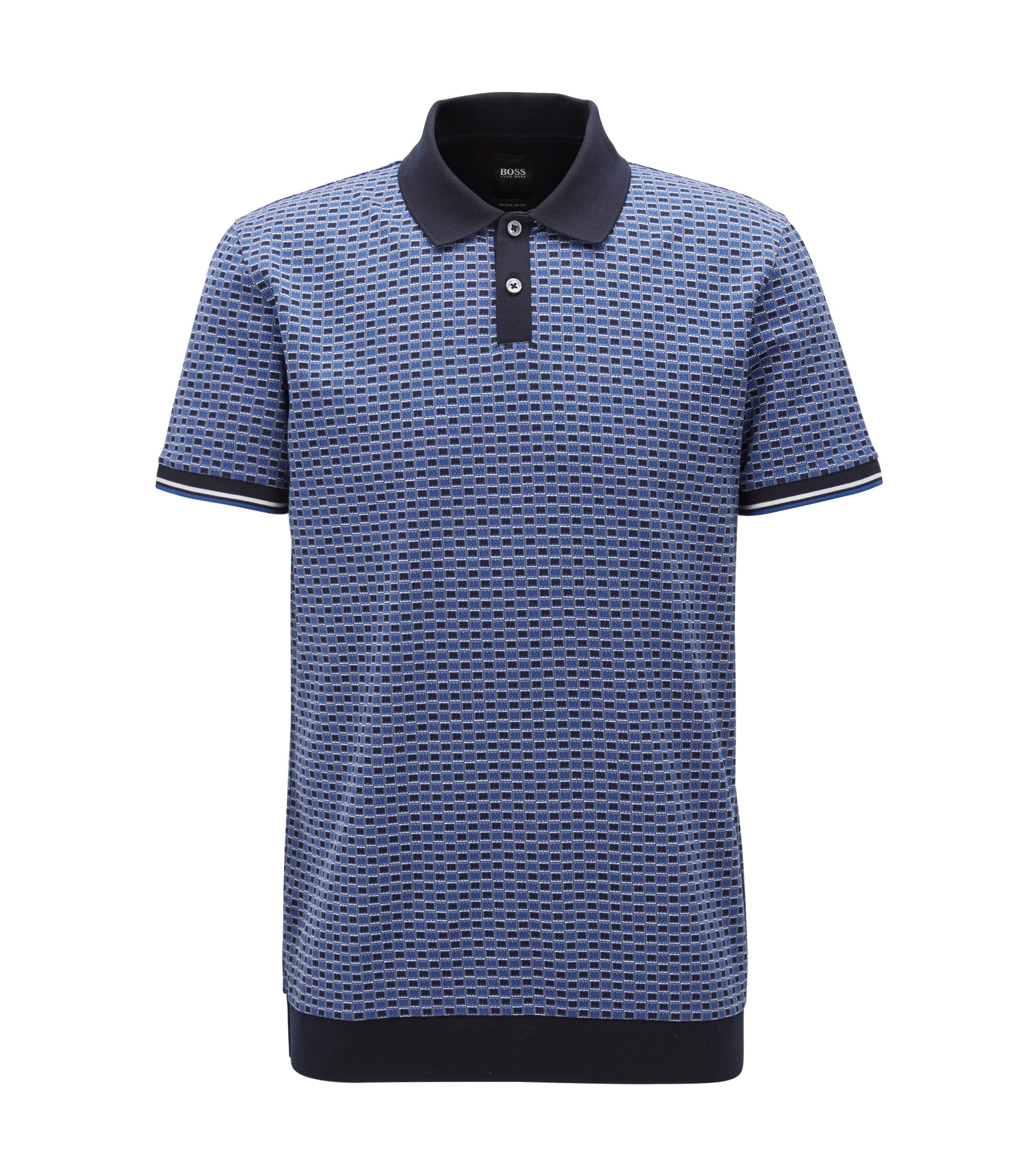 Micro-patterned polo shirt in cotton jacquard, Open Blue
