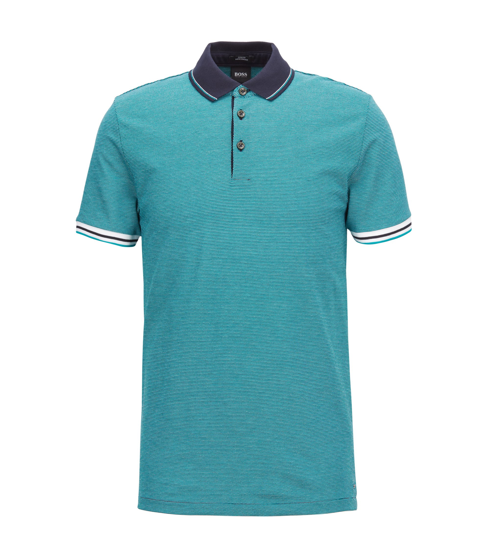 Slim-fit polo shirt with mountaineering-inspired pattern, Green