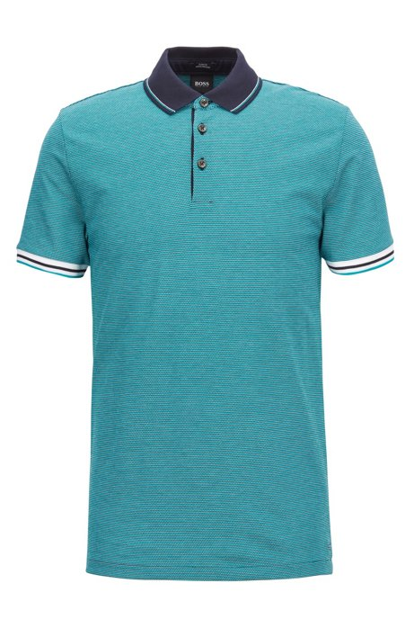 499c5299 Slim-fit polo shirt with mountaineering-inspired pattern, Green