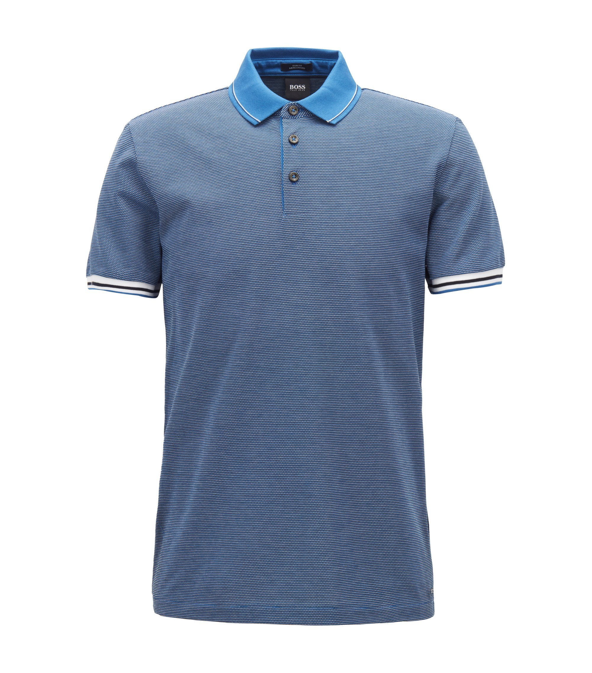 Slim-fit polo shirt with mountaineering-inspired pattern, Open Blue