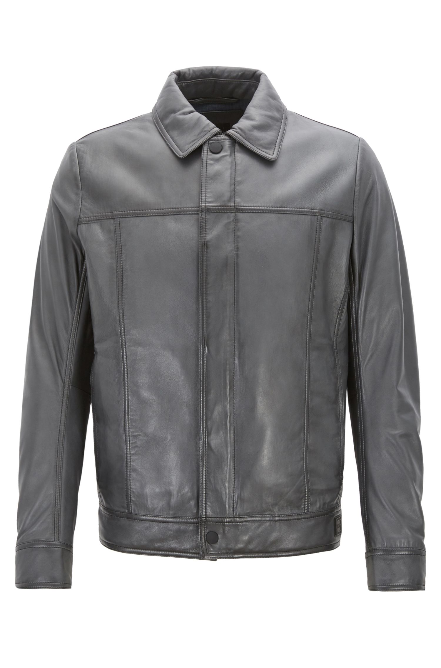 Slim-fit trucker-style jacket in waxed lambskin leather