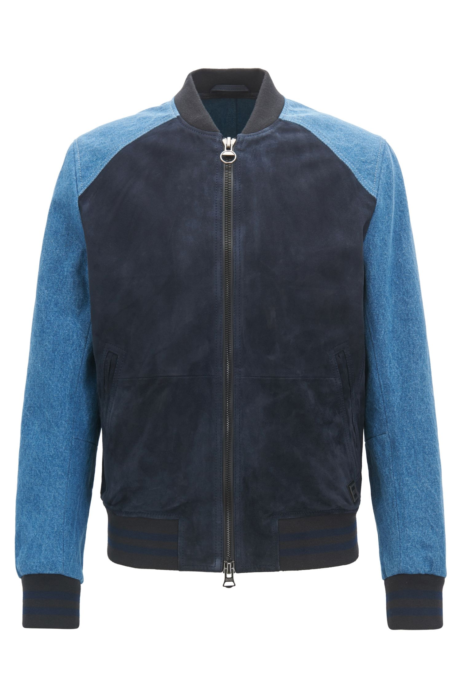 Slim-fit varsity jacket in suede and denim