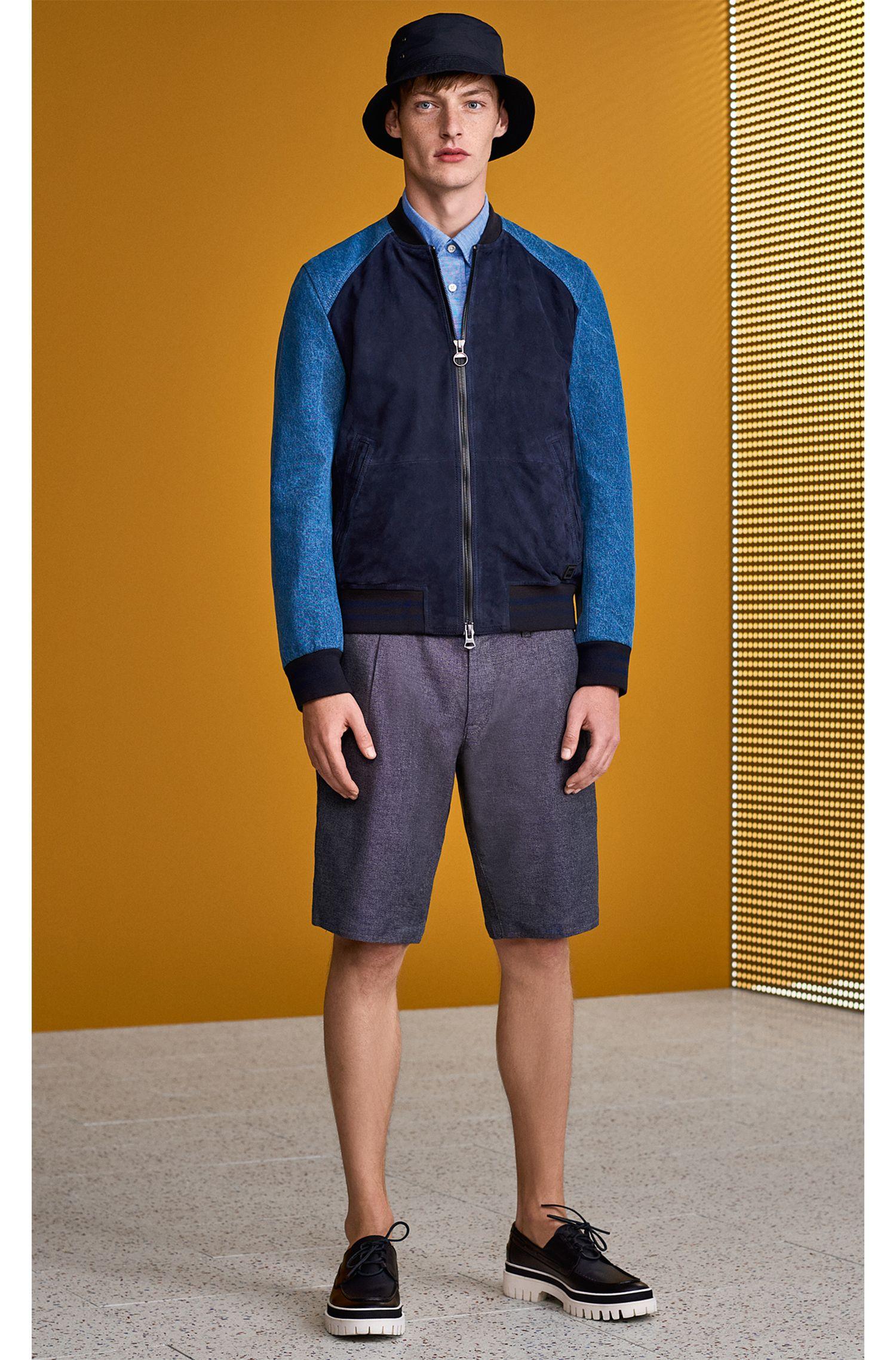 Slim-fit varsity jacket in suede and denim, Dark Blue