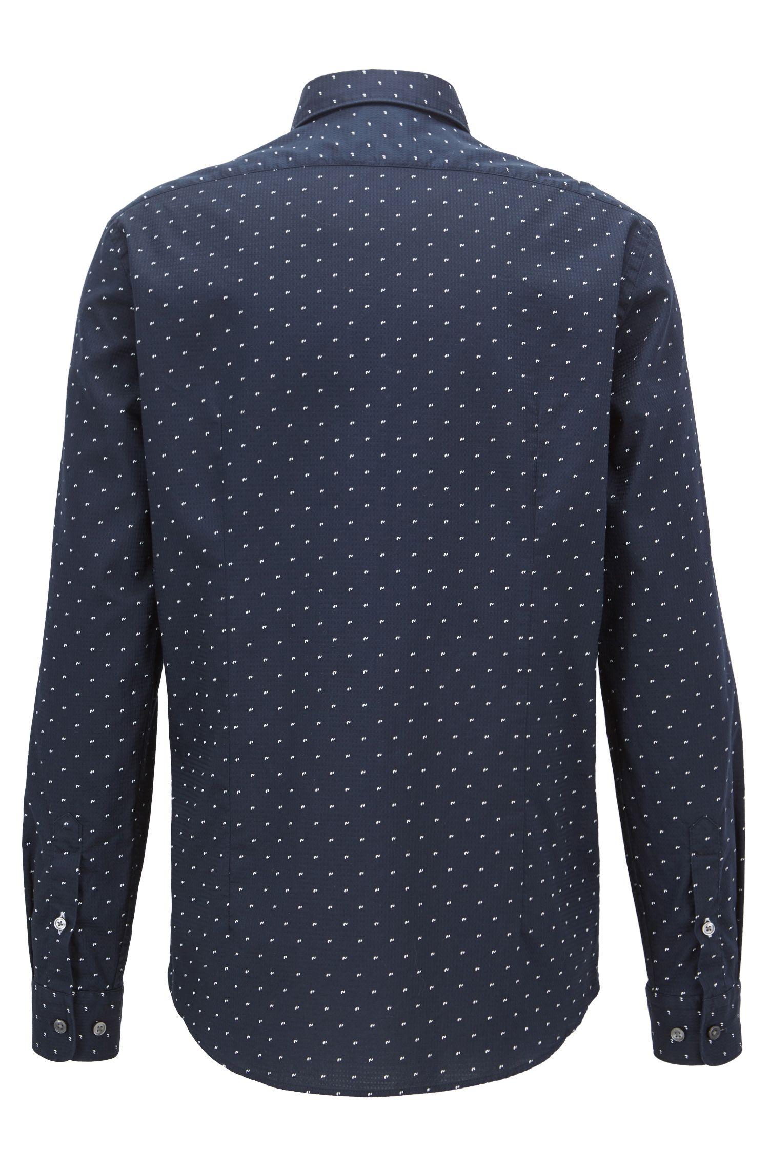 Regular-fit printed dobby cotton shirt, Open Blue