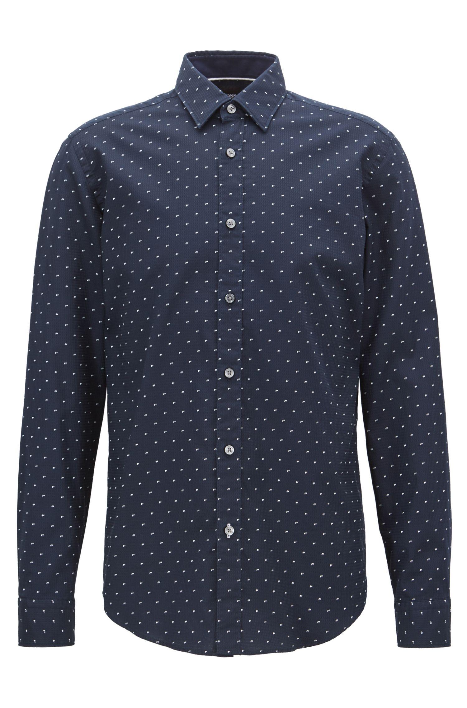 Regular-fit printed dobby cotton shirt