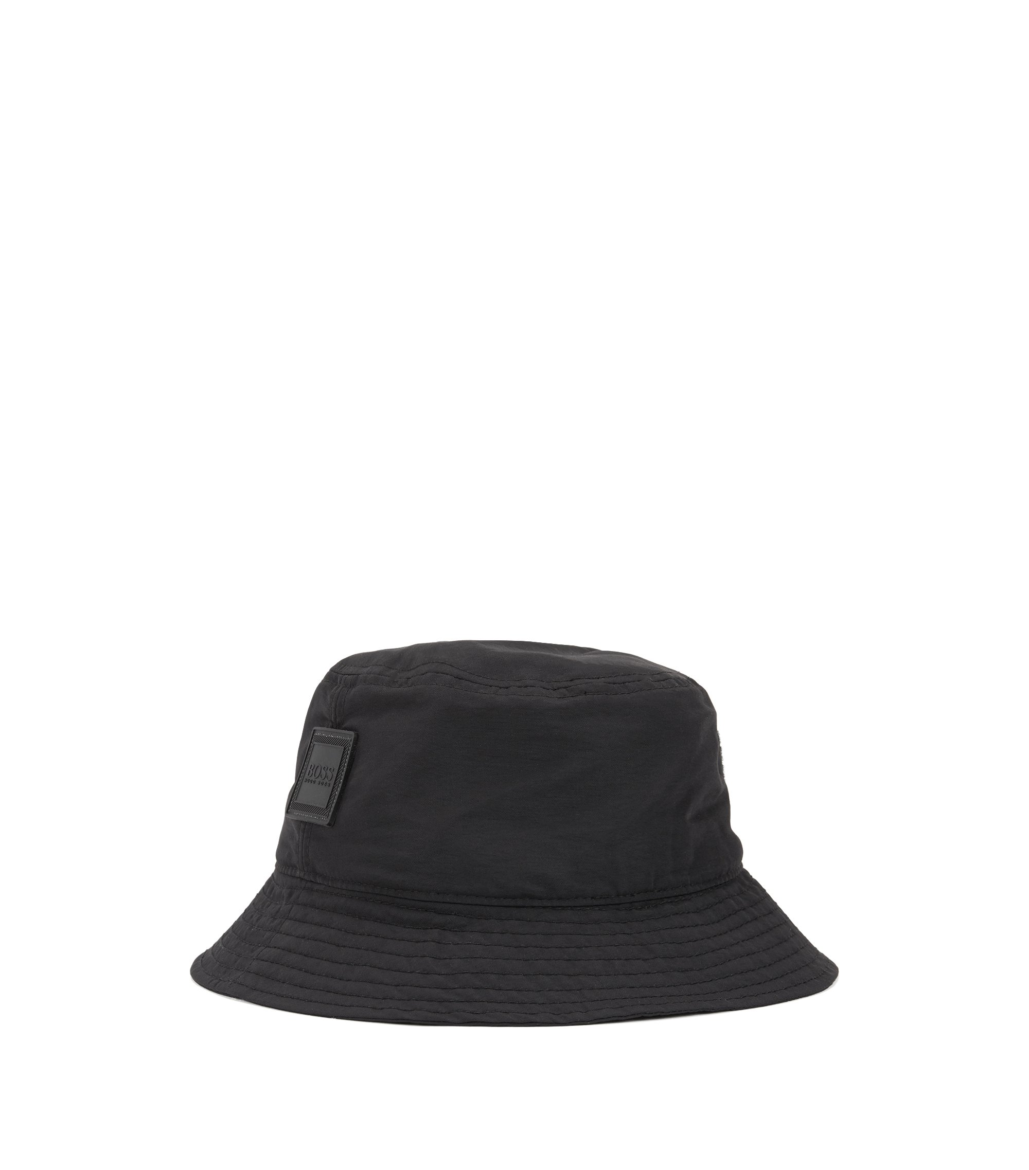 Bucket-style fisherman's hat in water-repellent technical fabric, Black