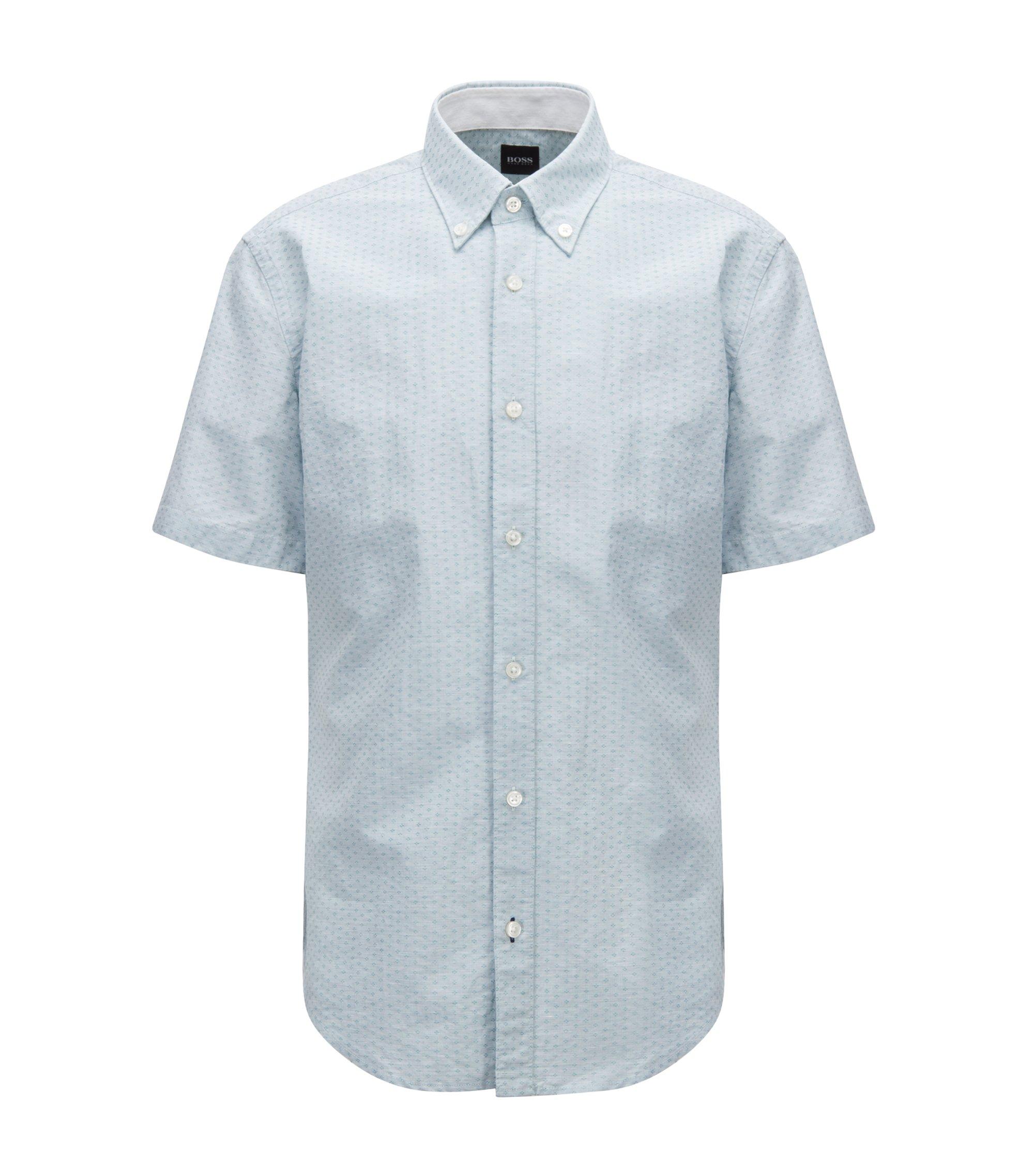 Slim-fit shirt in cotton-blend dobby, Dark Green