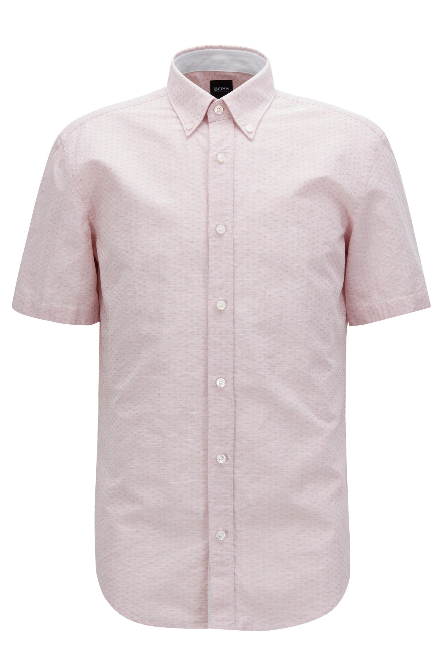 Slim-fit shirt in cotton-blend dobby, Open Red